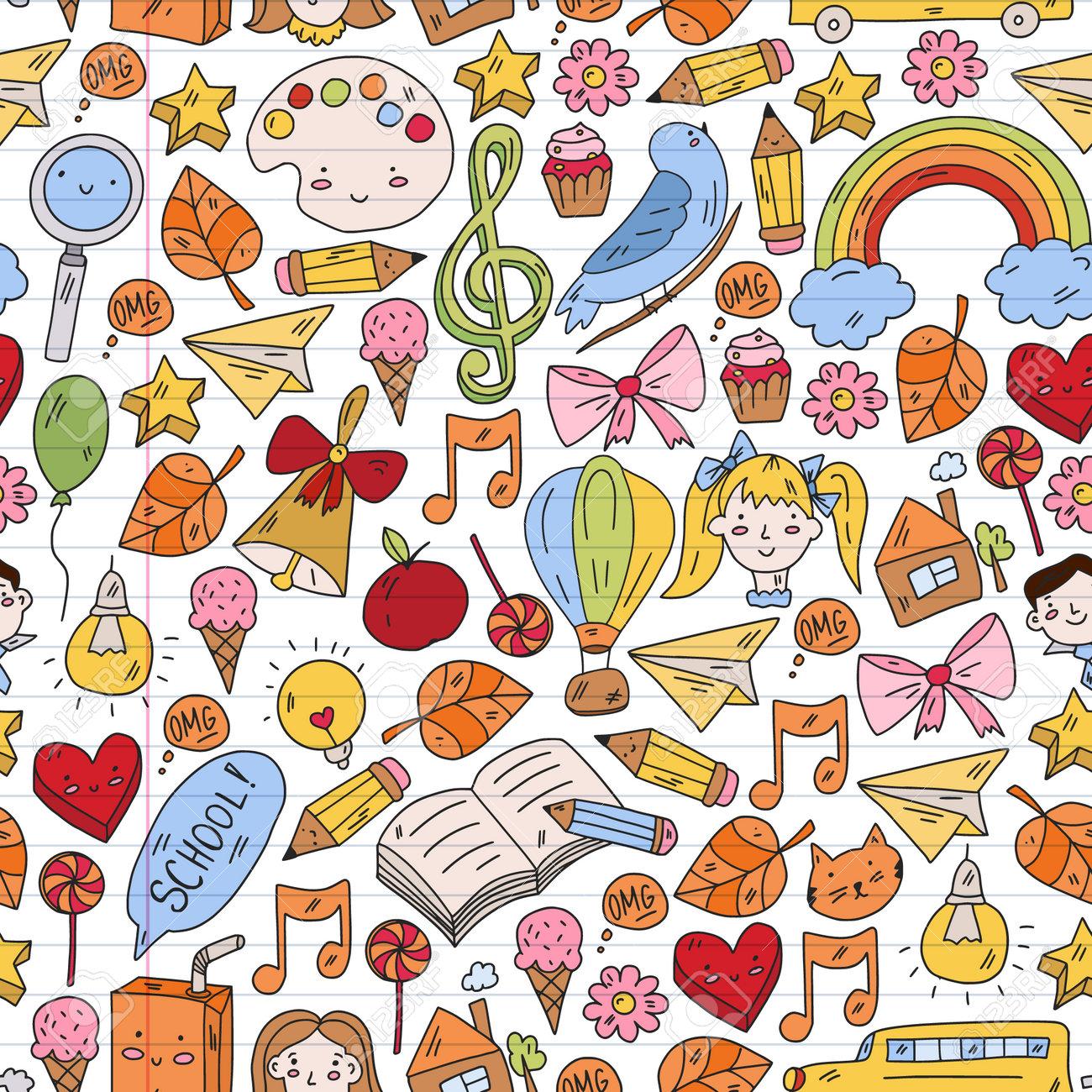 School, kindergarten with cute vector children. Creativity and imagination. Dancing, singing, painting, online education. - 173370438