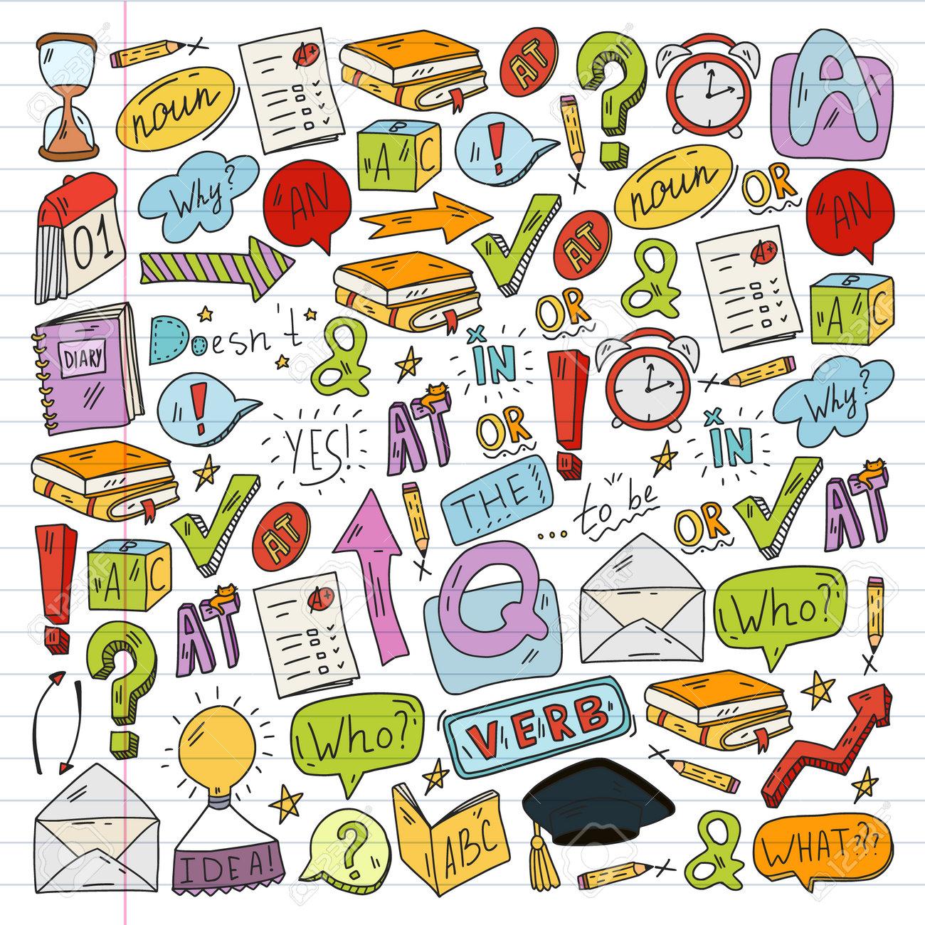 Doodle vector concept illustration of learning English language. English language courses. School. College. University. - 173370492