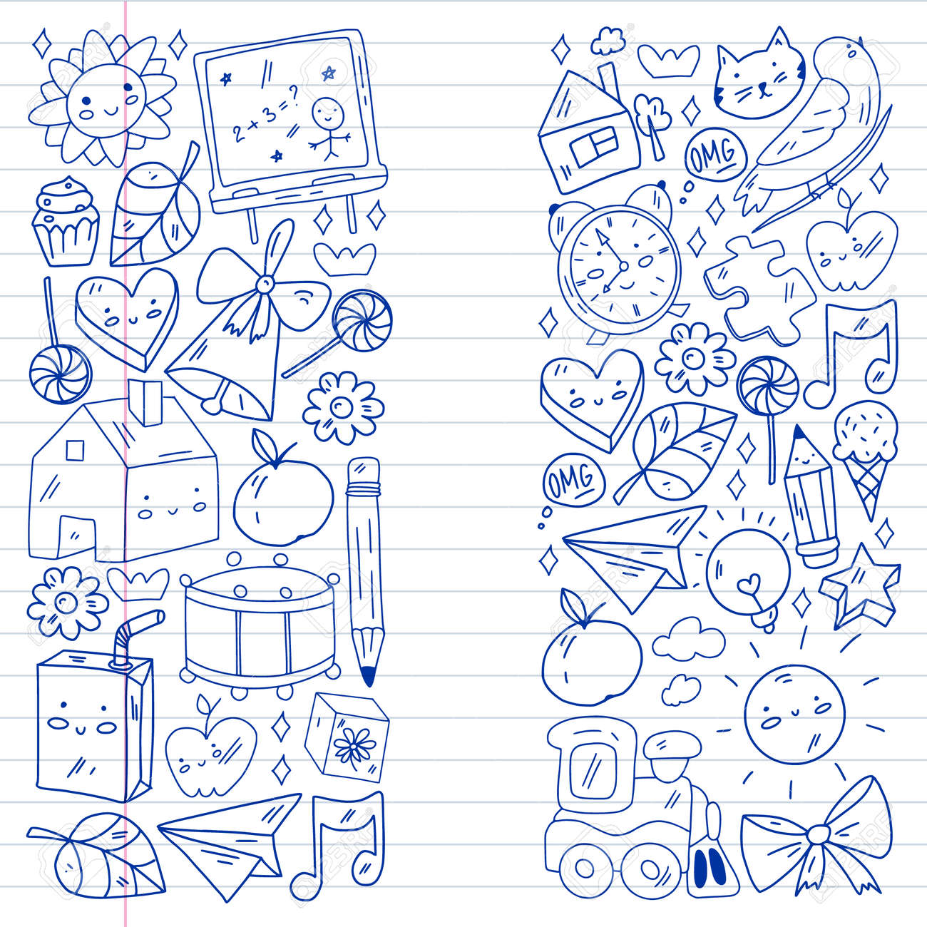 School, kindergarten icons for children. Creativity and imagination. Online education. Dancing, singing, painting. - 173336004