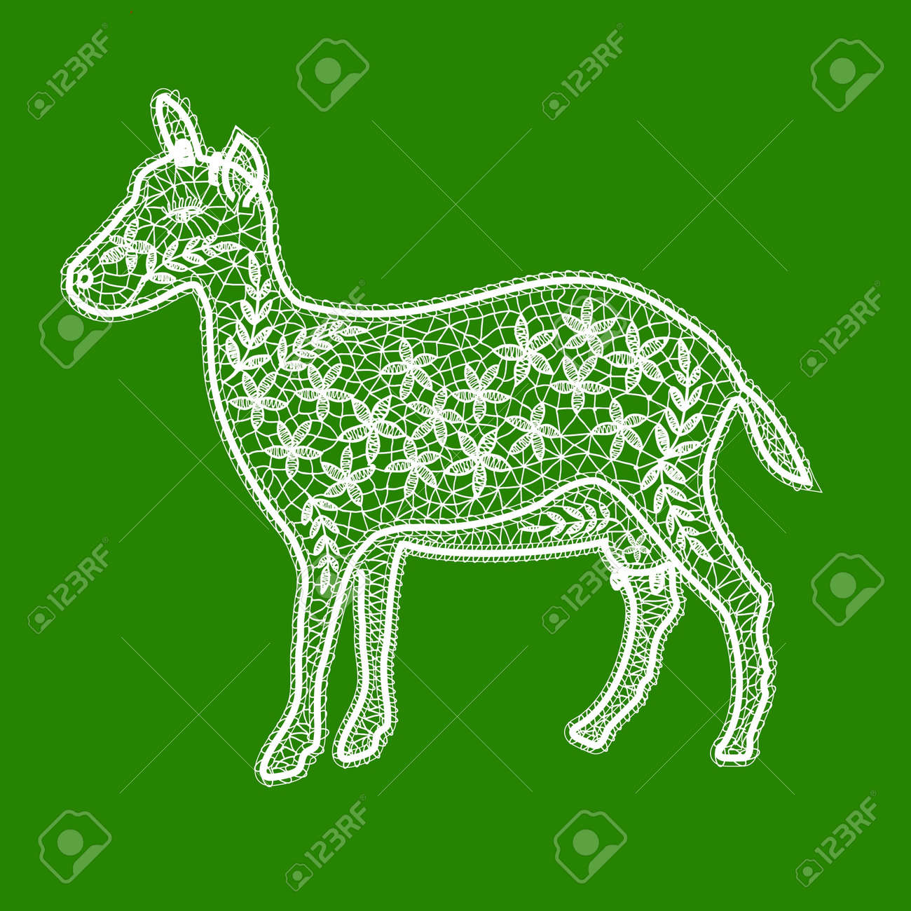 lacy white goat on a green background Stock Vector - 16905227
