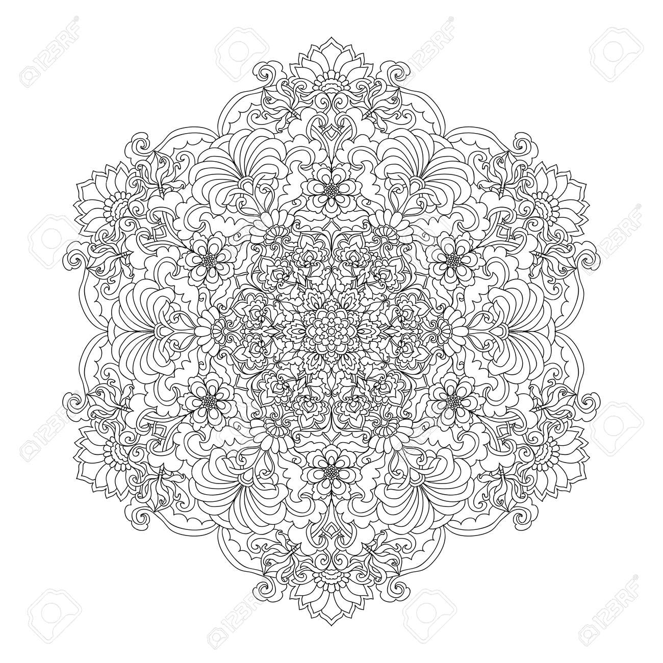 Coloring Book Page For Adults With Color Sample Mandala Vintage Flowers Pattern Zendala