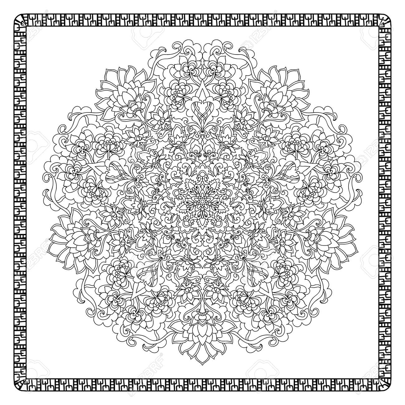 coloring book page for adults with color sample mandala with