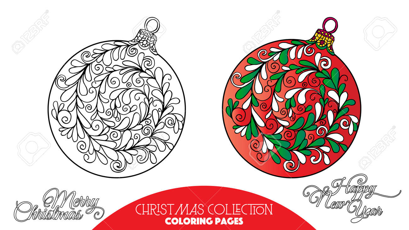 Libro Da Colorare Per Adulti E Bambini Più Grandi Colorare Con Elementi Decorativi Di Natale Disegno Del Contorno Con Il Campione Di Colore