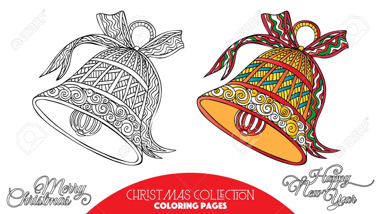 Disegni Di Natale Da Colorare Per Adulti.Libro Da Colorare Per Adulti E Bambini Piu Grandi Colorare Con Elementi Decorativi Di Natale Disegno Del Contorno Con Il Campione Di Colore