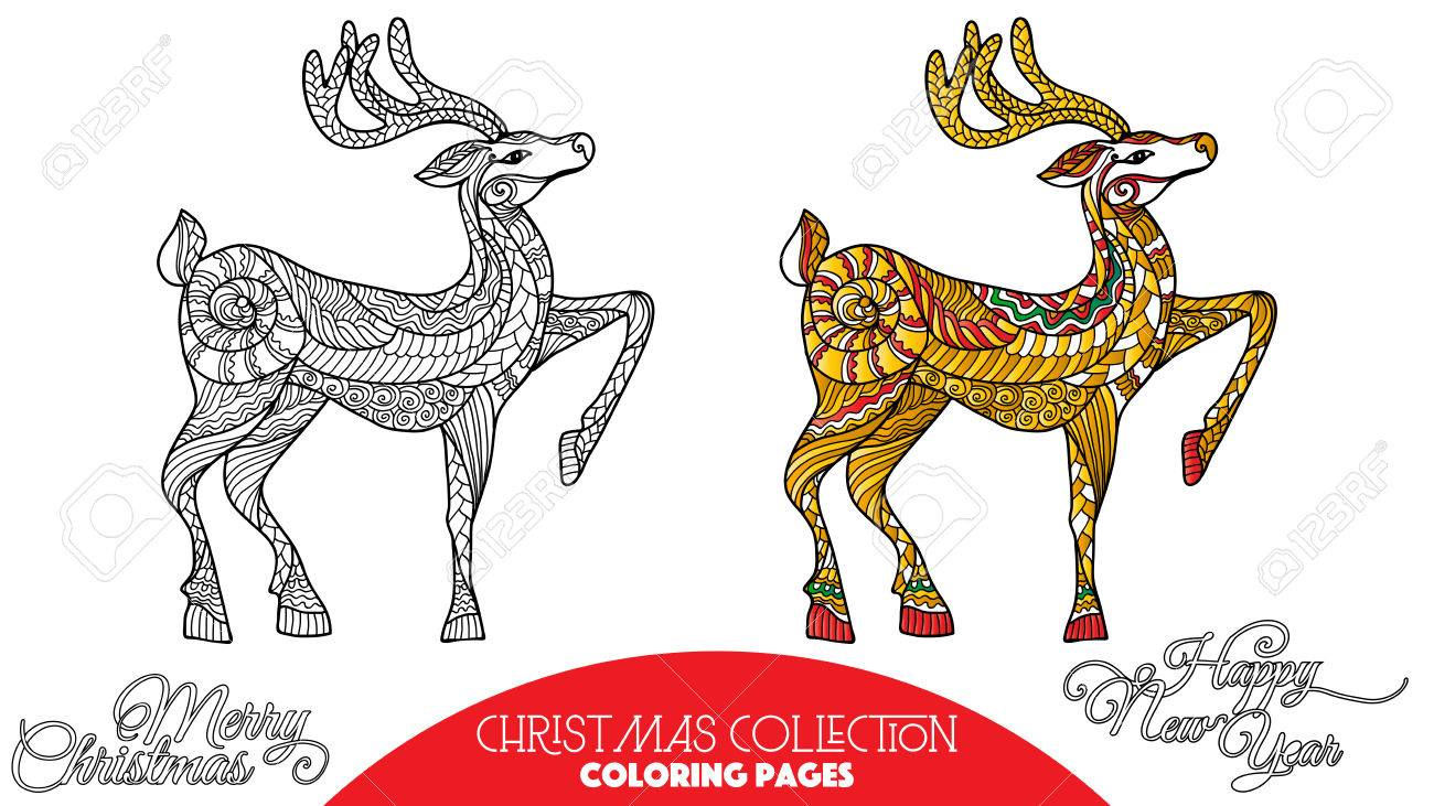 Coloring Book For Adult And Older Children Page With Christmas Decorative Elements Outline