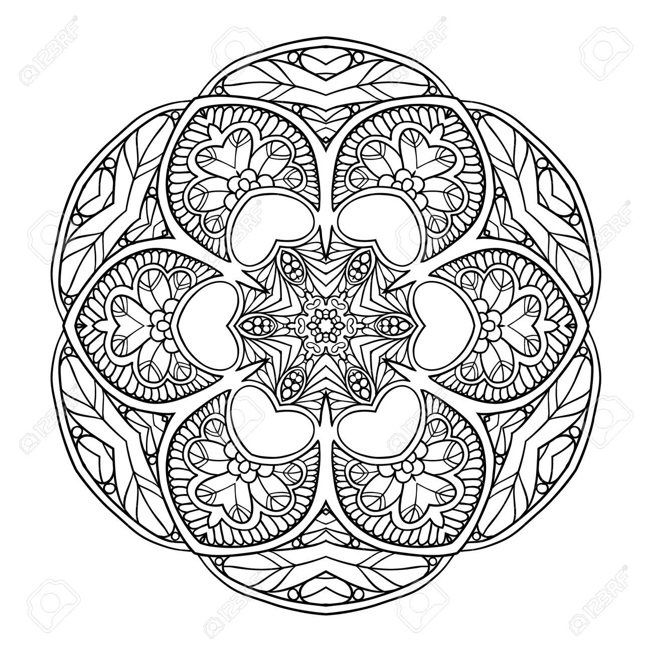Decorative Mandala Vector Illustration Good For Coloring Book Adult And Older Children