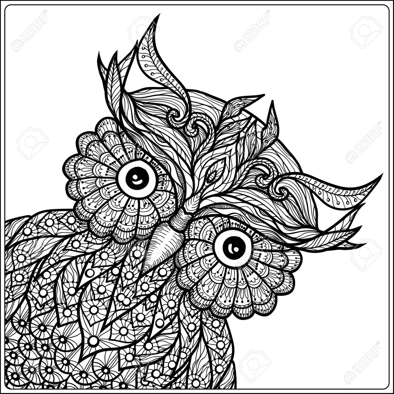 Coloring Book For Adult And Older Children Page With Cute Owl Outline Drawing