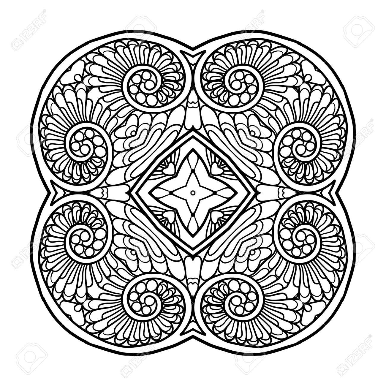Mandala Decorativa Ilustración Del Vector Bueno Para Colorear Libro Para Adultos Y Niños Mayores Dibujo Para Colorear Dibujo De Esquema