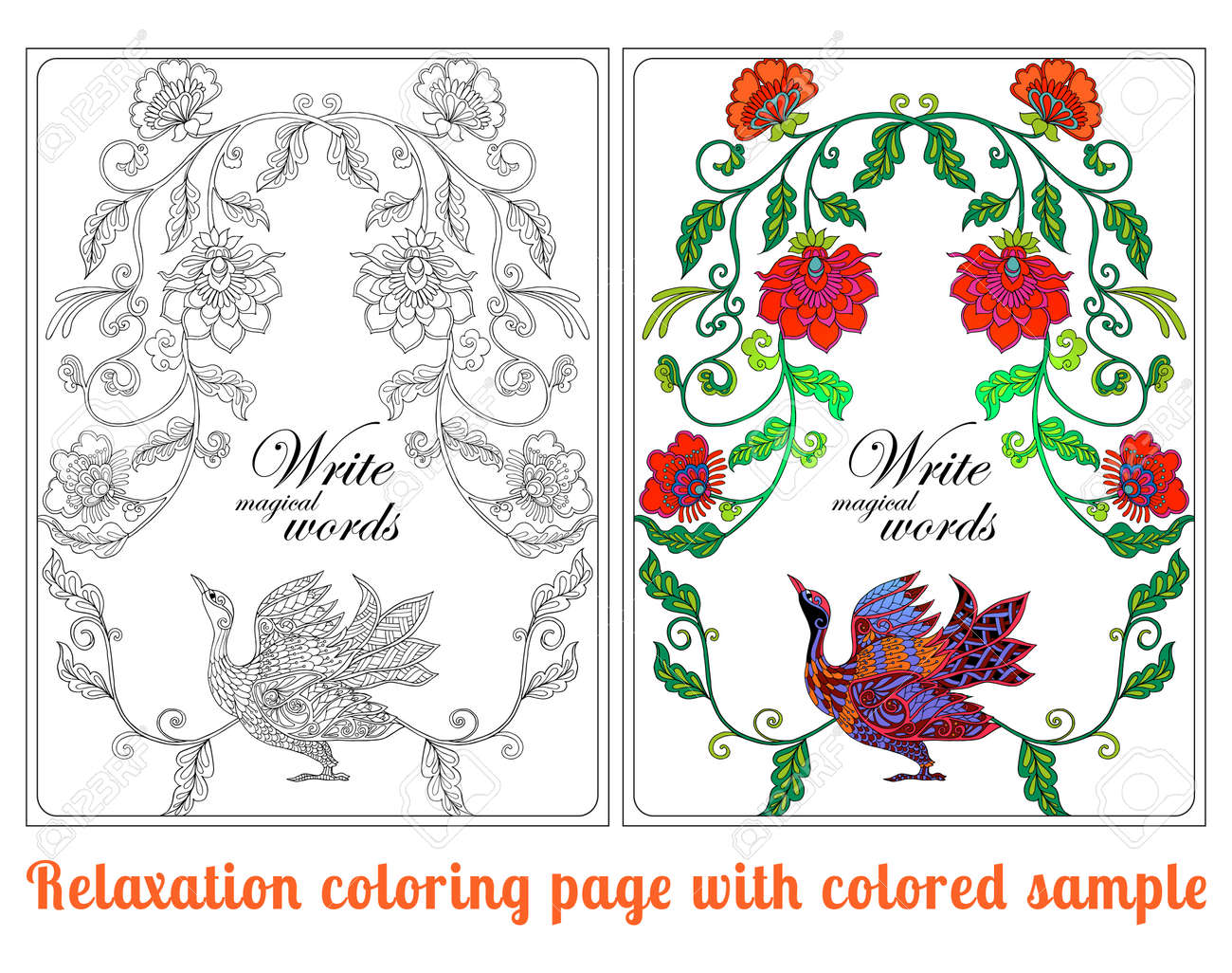 Decorative flowers and birds. Coloring book for adult and older..