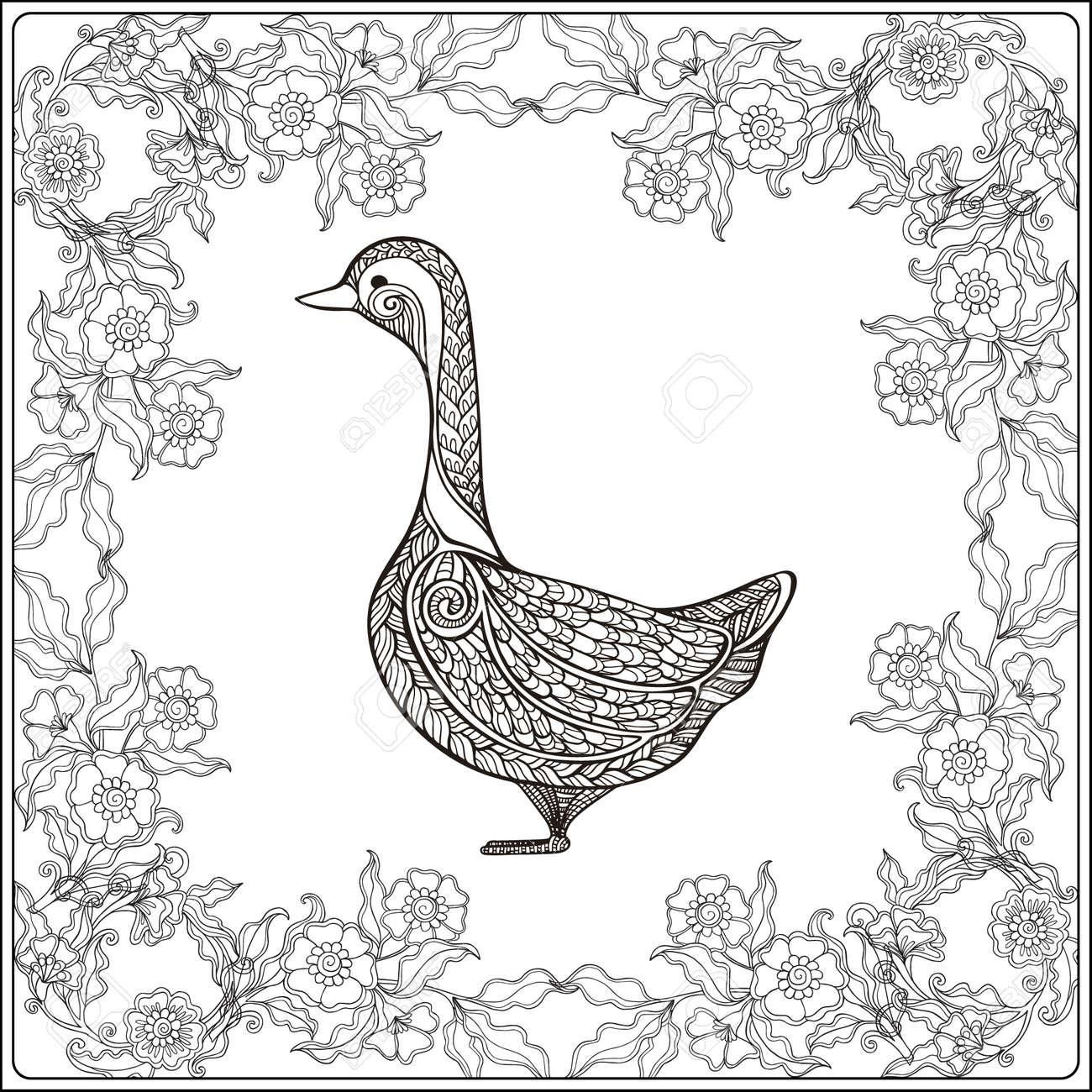 Goose in floral frame. Coloring book for adult and older children...