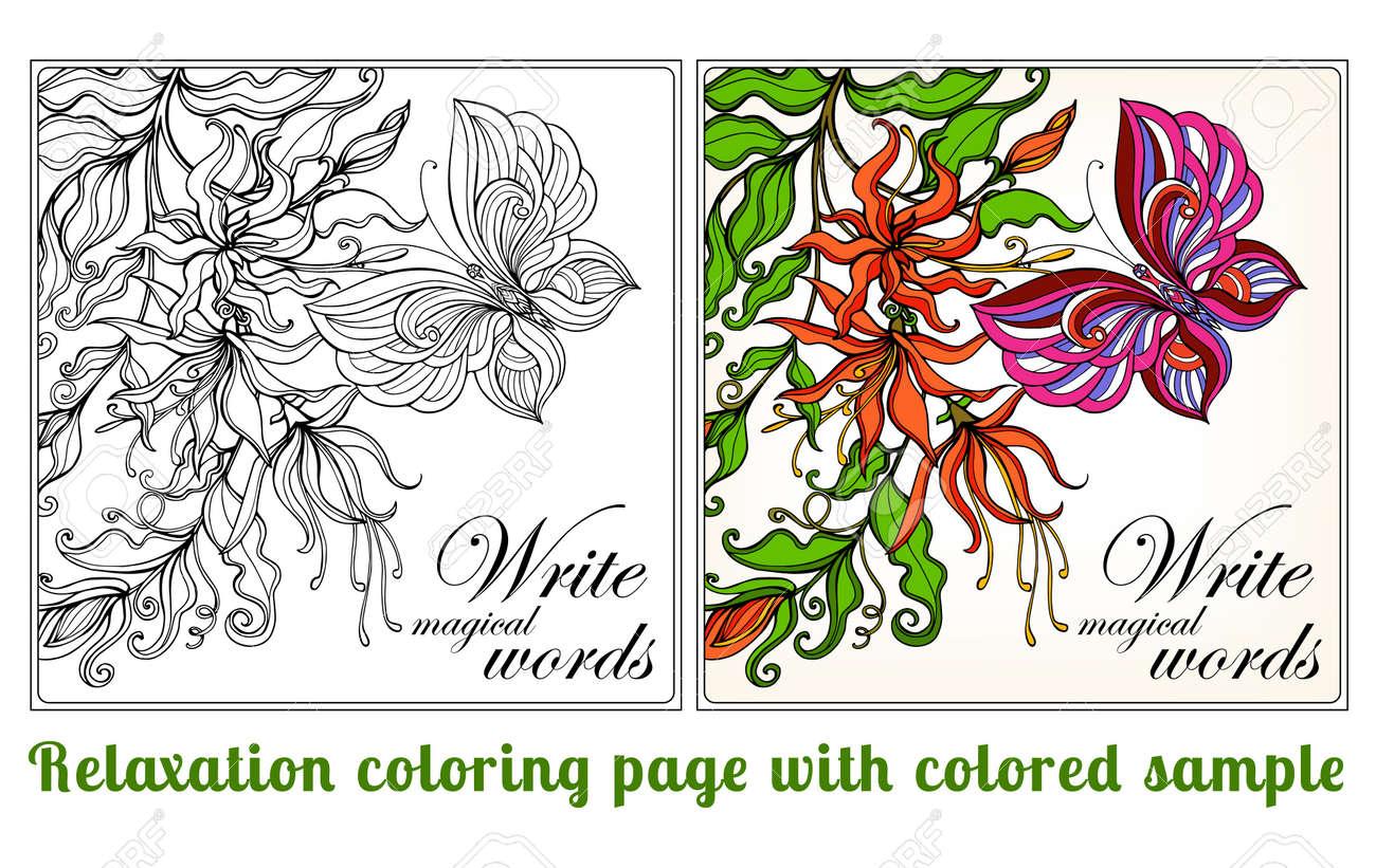 Atractivo Flores Simples De La Página Del Colorante Composición ...
