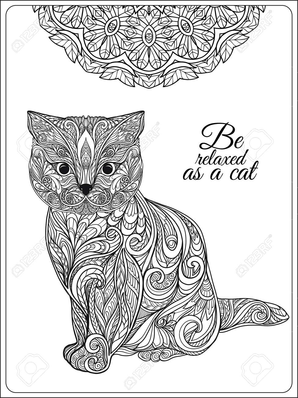 Decorative Cat With Mandala. Vector Illustration. Adult Coloring ...
