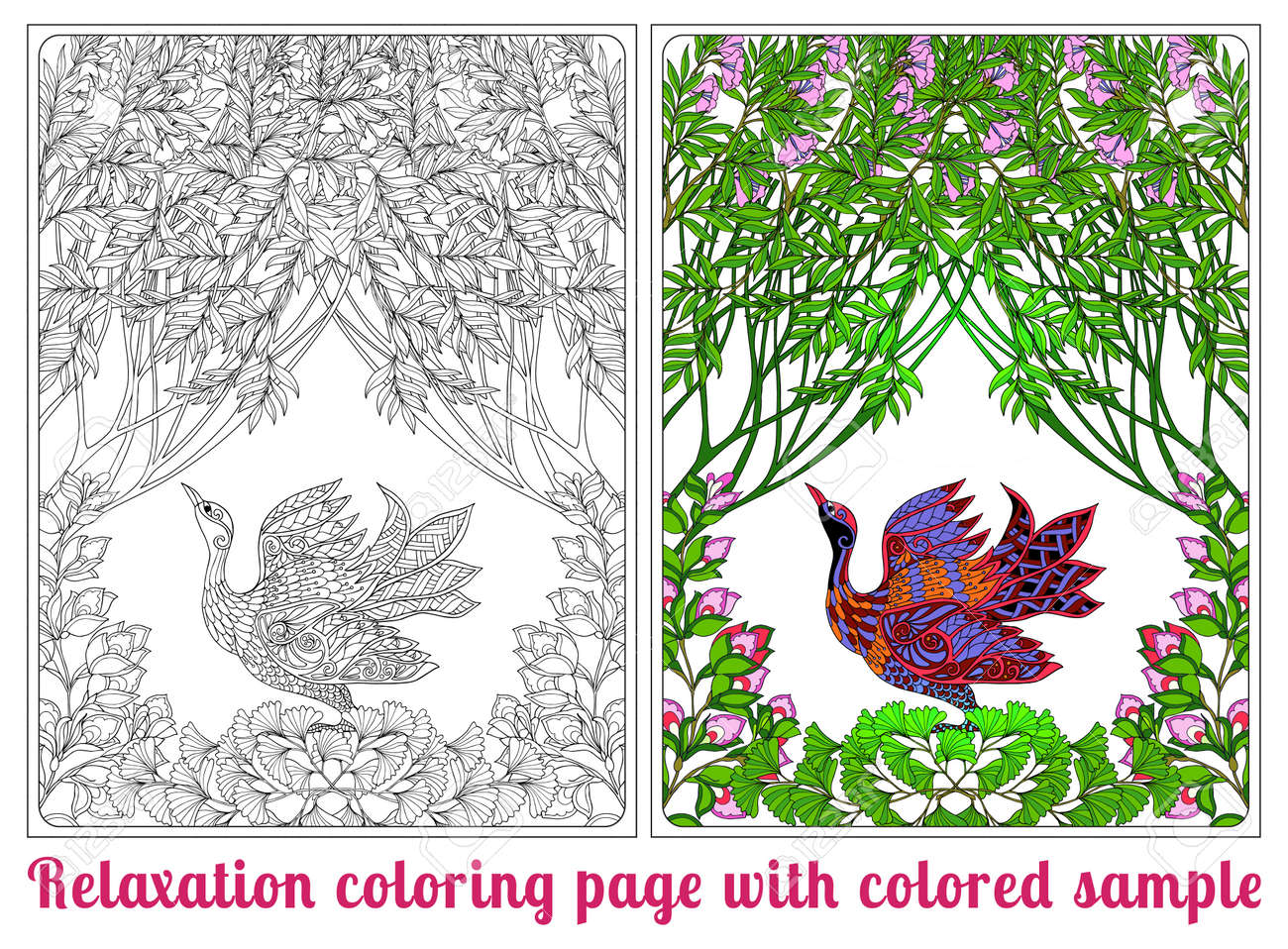 Decorative Flowers And Bird. Coloring Book For Adult And Older ...