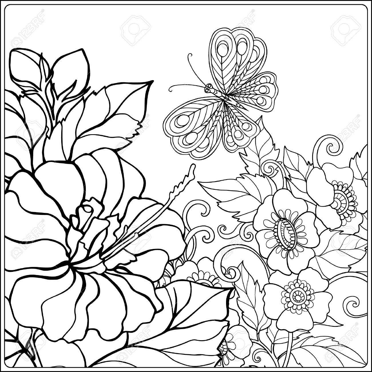 Atemberaubend Malvorlagen Von Blumen Und Schmetterlingen ...