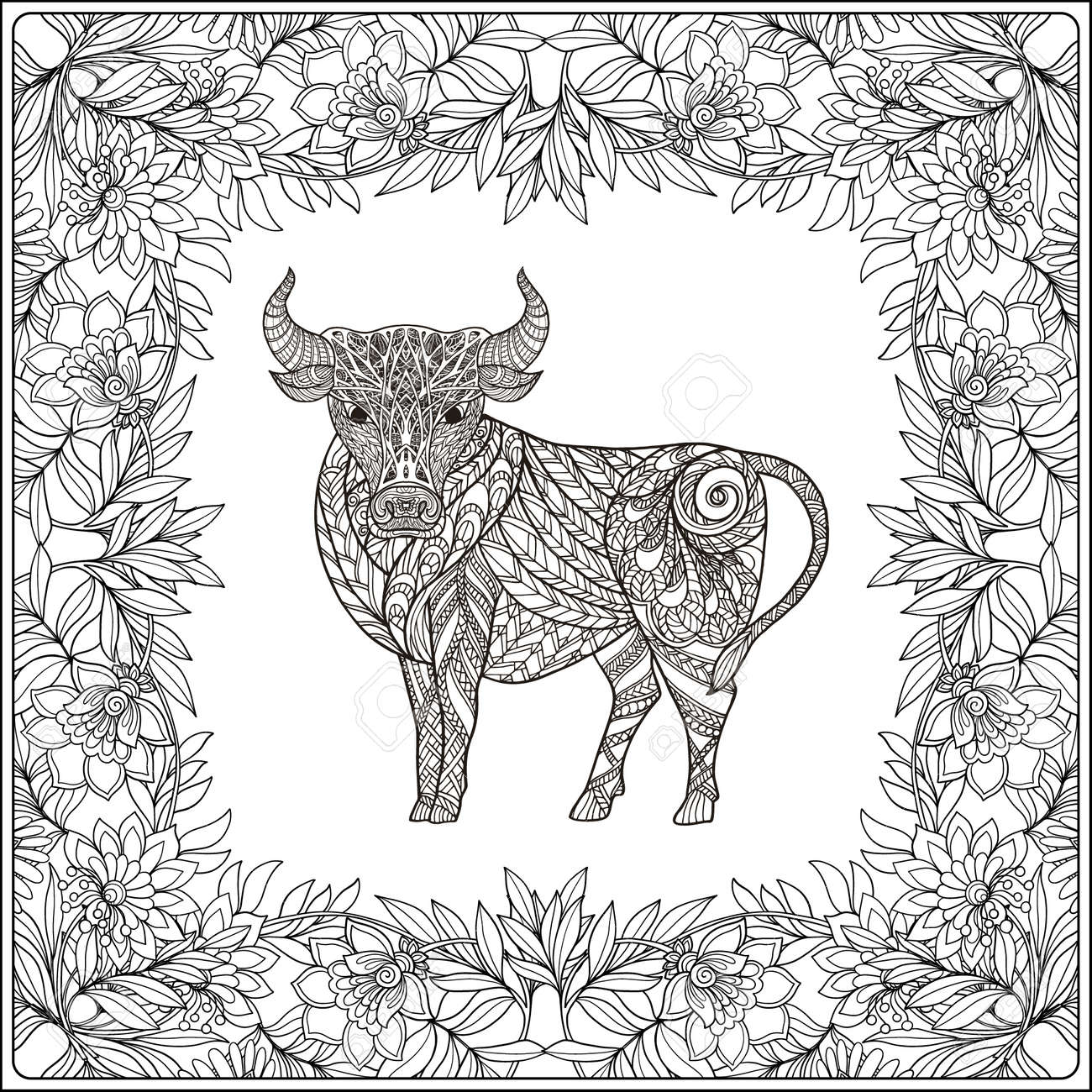 Cow In Floral Frame. Coloring Book For Adult And Older Children ...