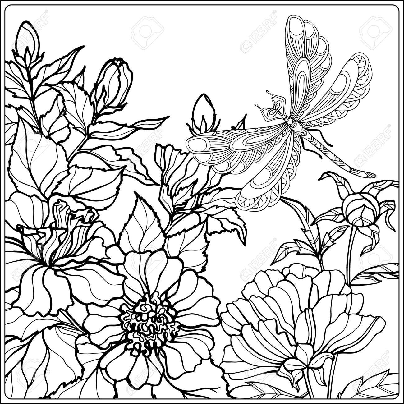 Dekorative Blumen Vögel Und Schmetterlinge Malbuch Für Erwachsene