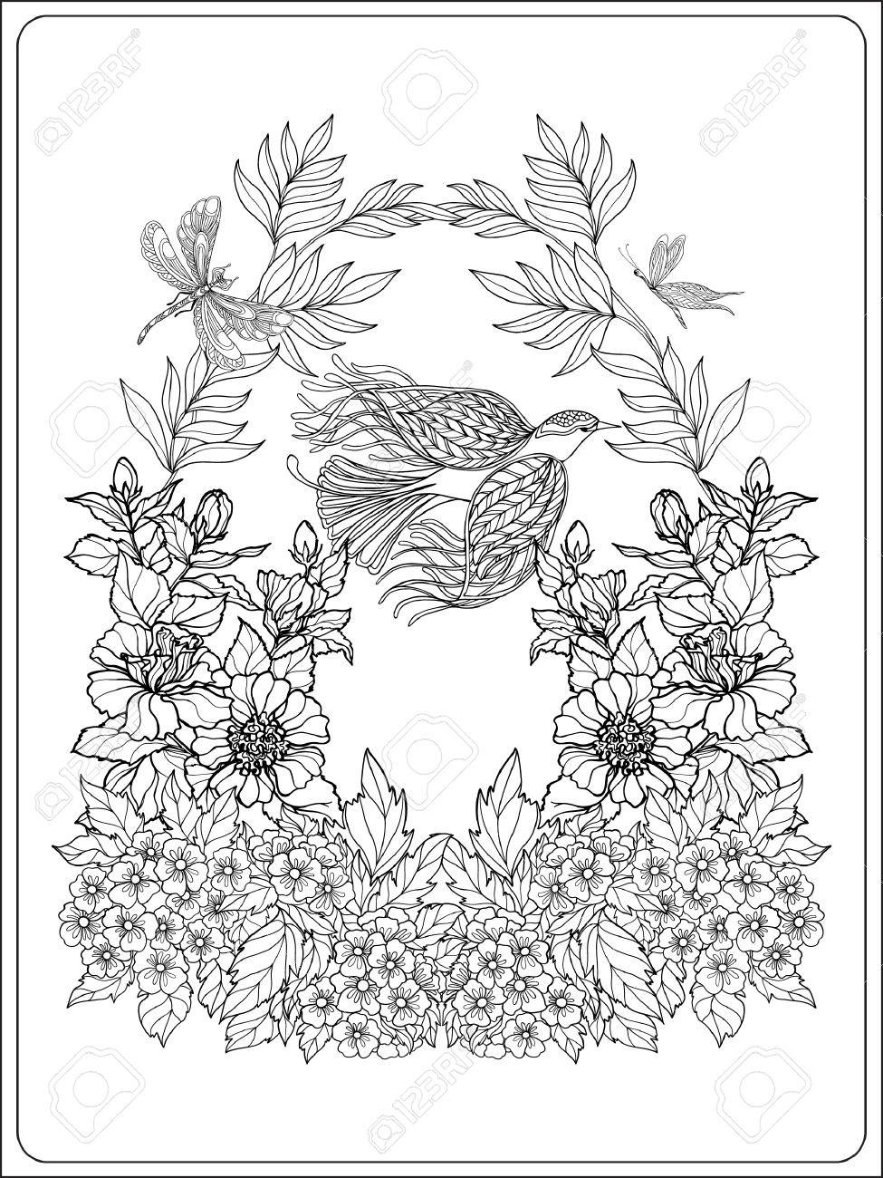 Decorative Flowers And Birds. Coloring Book For Adult And Older ...