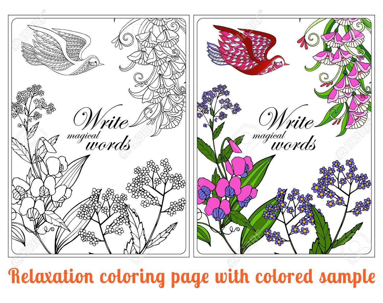 Kleurplaten Voor Volwassenen Met Tekst.Decoratieve Bloemen En Vogels Kleurboek Voor Volwassenen En Oudere
