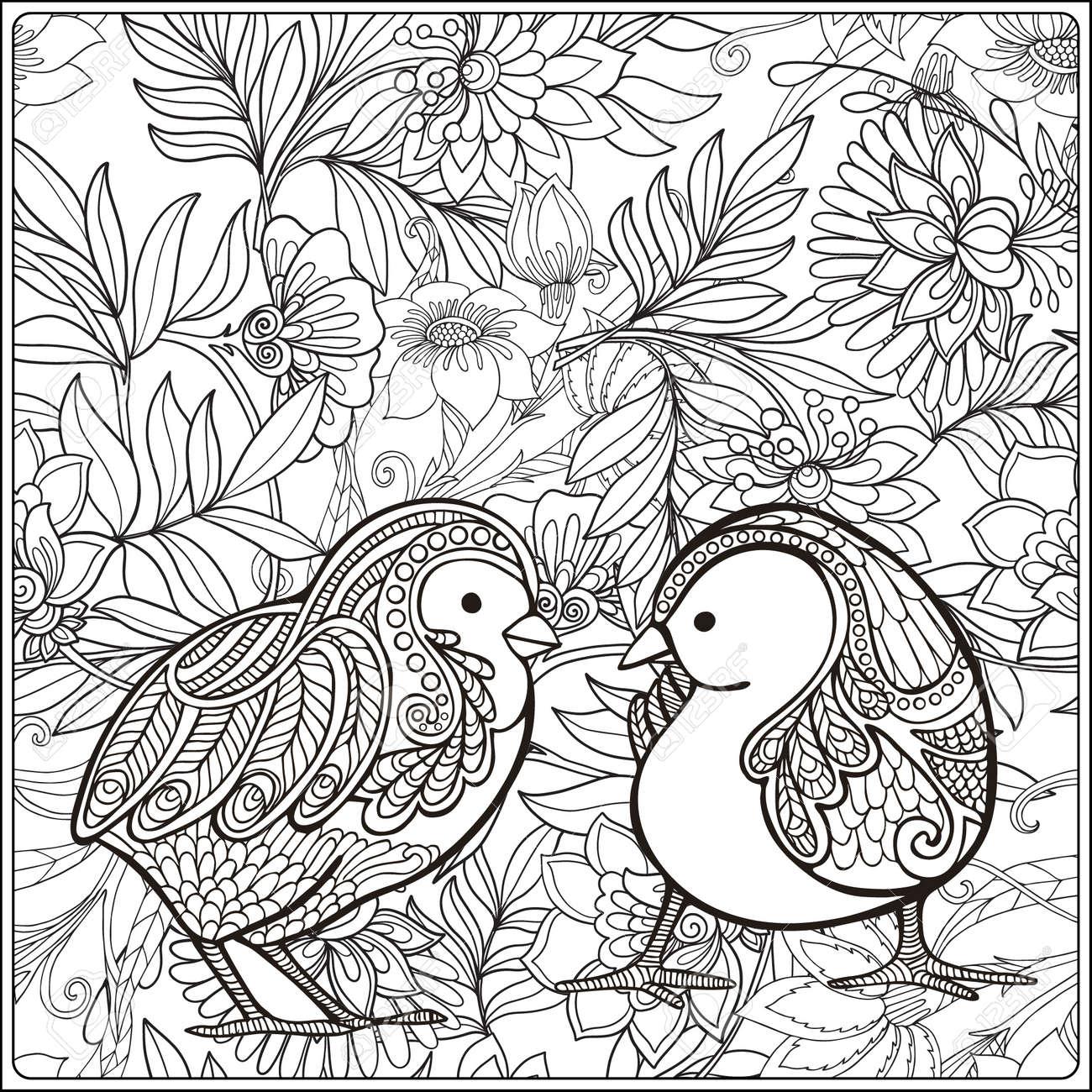 Polluelo En El Fondo Floral. Libro De Colorante Para Los Adultos Y