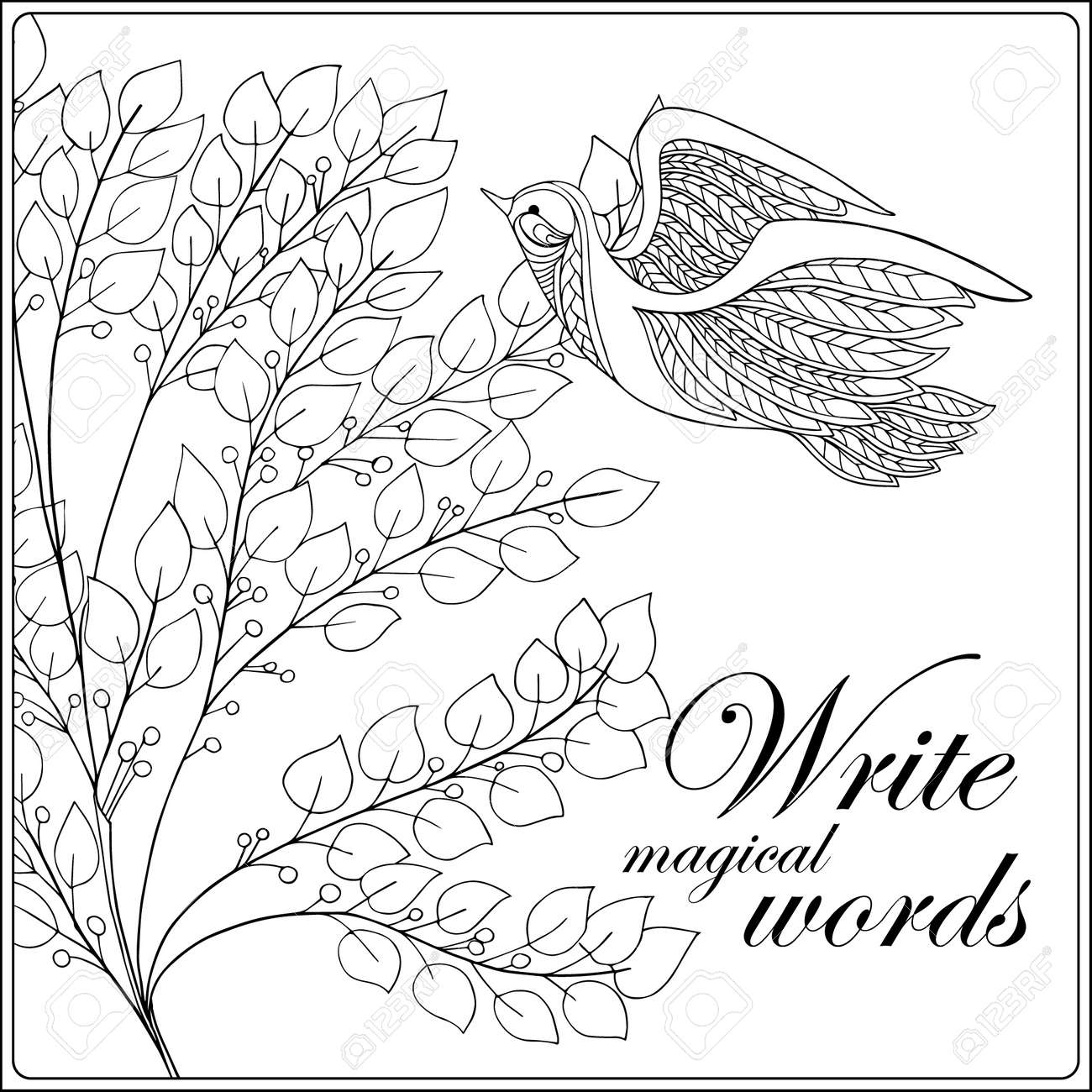 Vettoriale Fiori E Uccelli Decorativi Libro Da Colorare Per