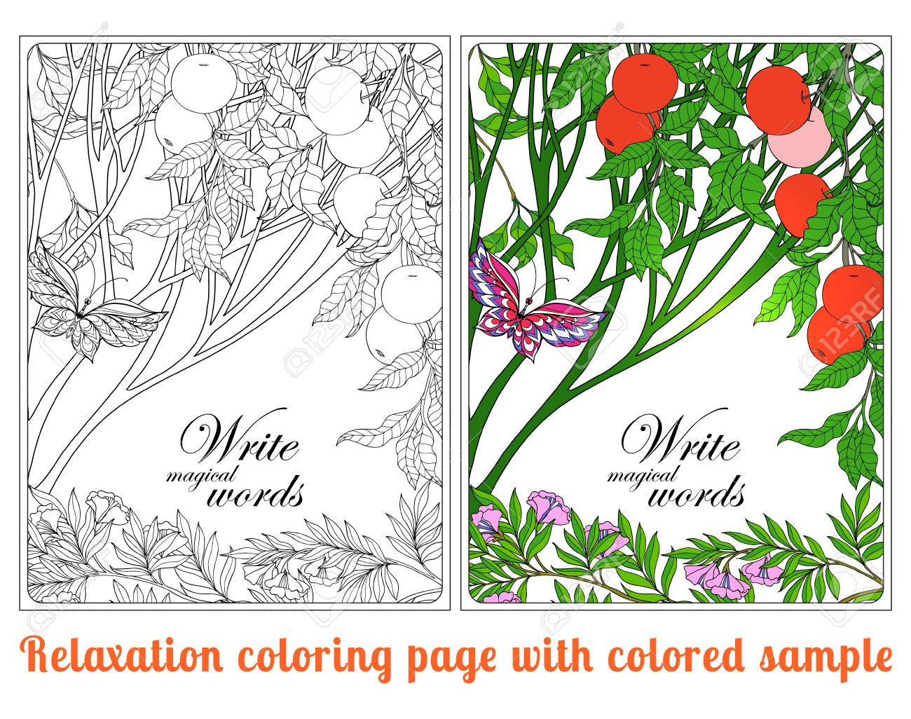 Decorative Flowers, Birds And Butterflies. Coloring Book For ...