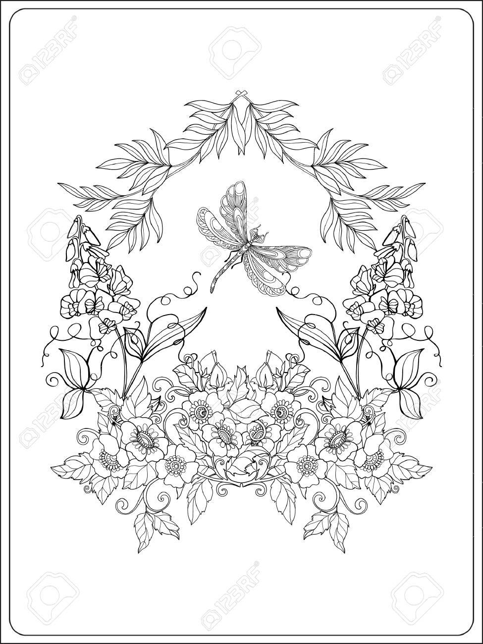 Vector Illustration Decorative Flowers Birds And Butterflies Coloring Book For Adult Older Children