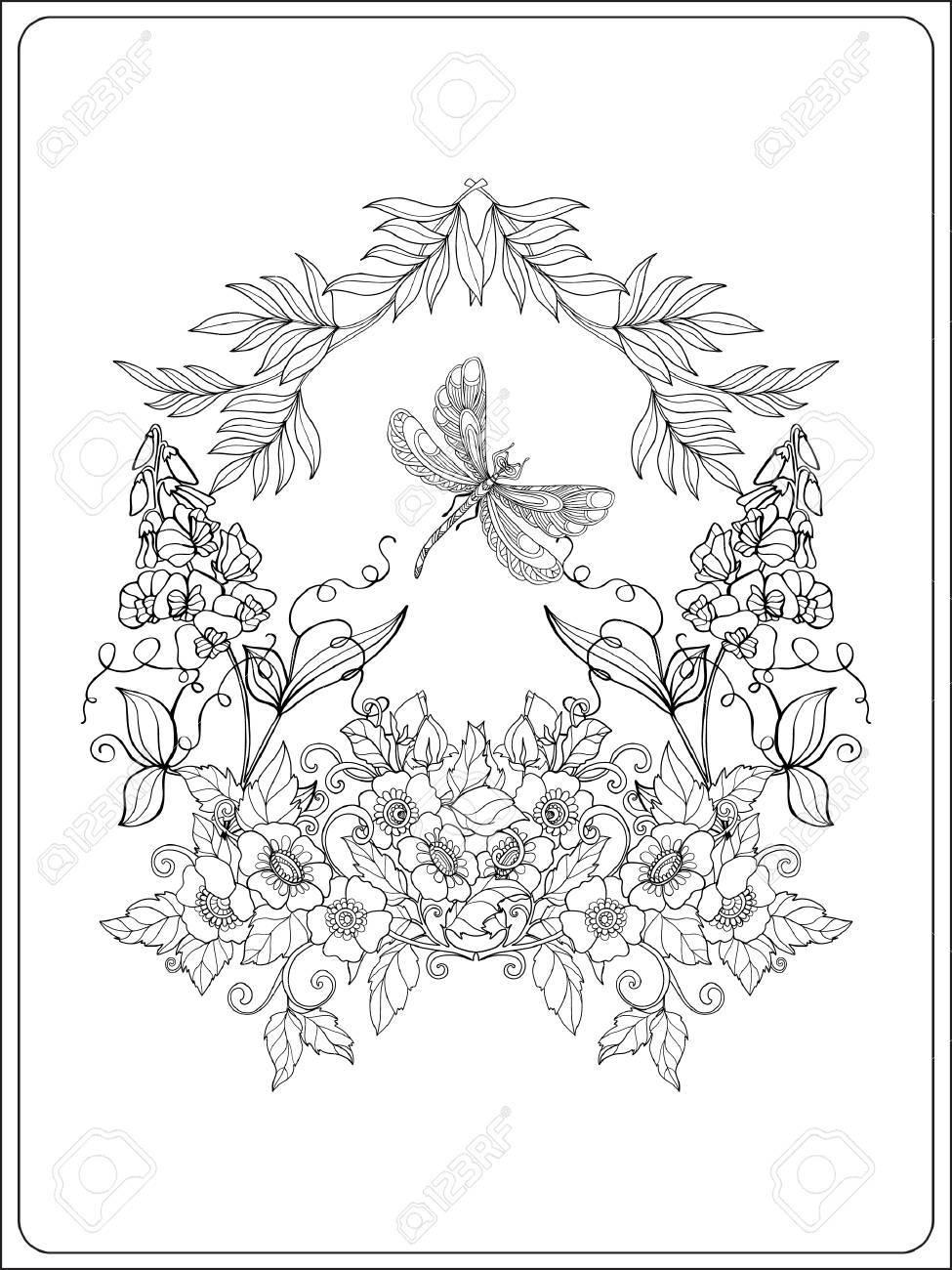 Dekorative Blumen, Vögel Und Schmetterlinge. Malbuch Für Erwachsene ...