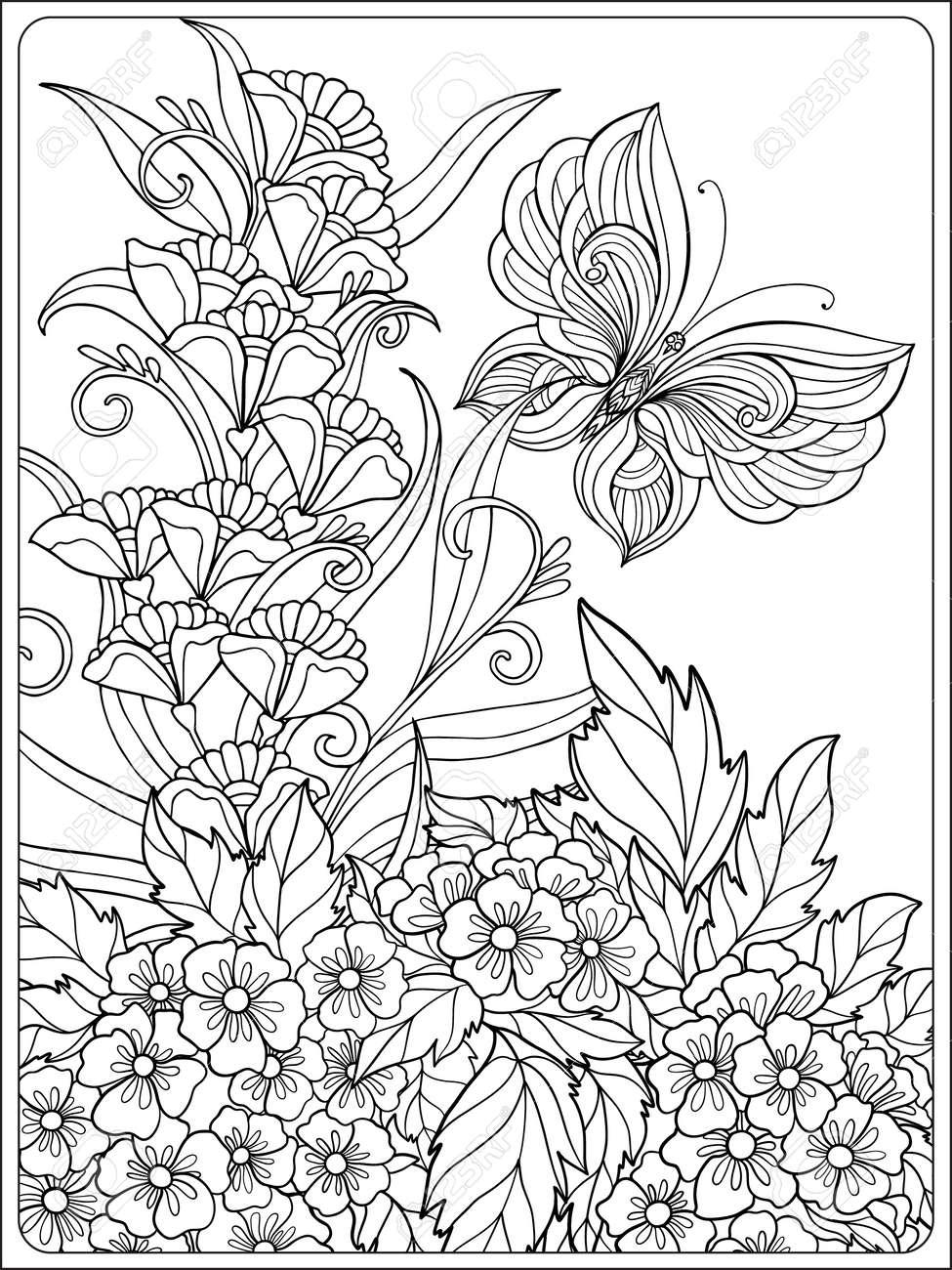 Único Páginas Para Colorear De Pájaros Y Flores Bosquejo - Dibujos ...