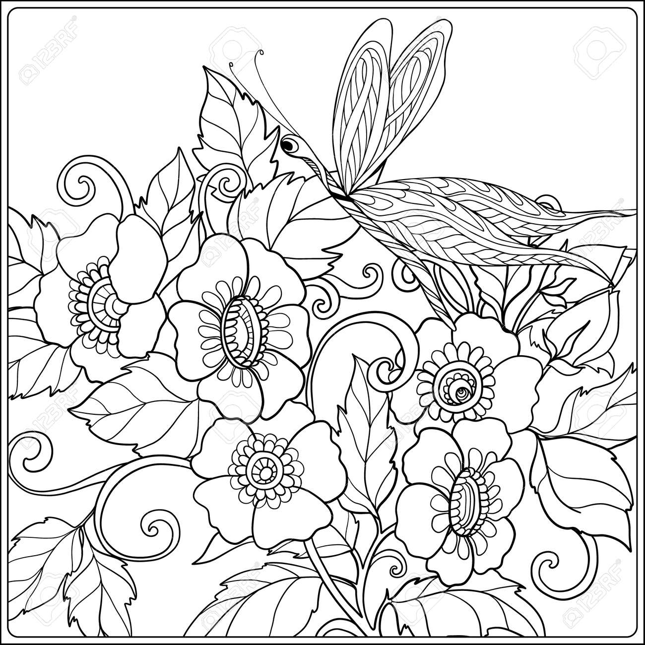 Vettoriale Donna Di Fiori Uccelli E Farfalle Libro Da Colorare