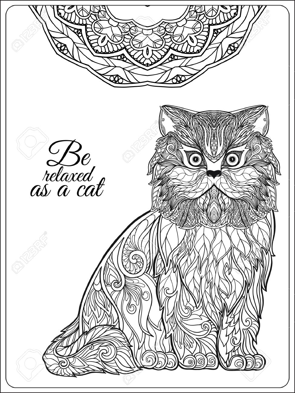 decorative cat with mandala vector illustration adult coloring book coloring page vector