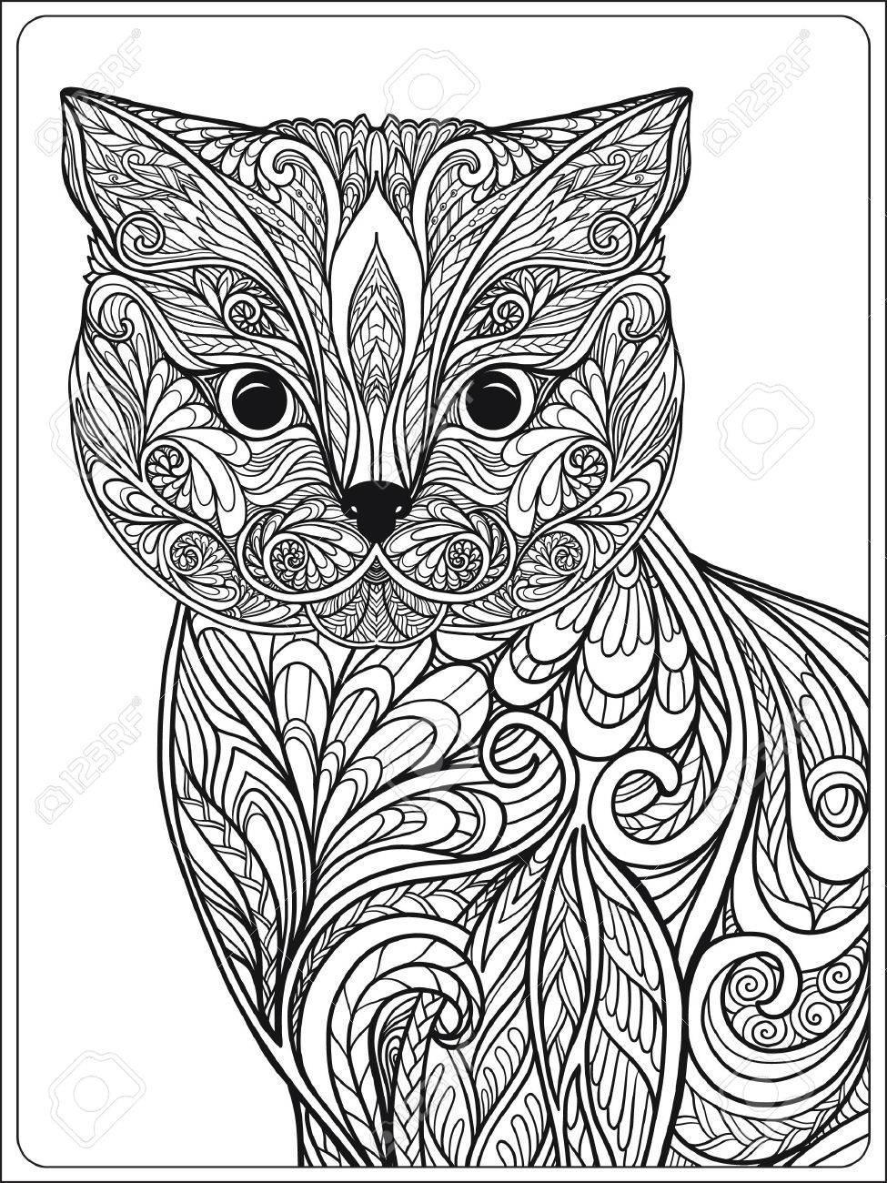 decorative cat vector illustration adult coloring book coloring page vector illustration - Cat Coloring Book