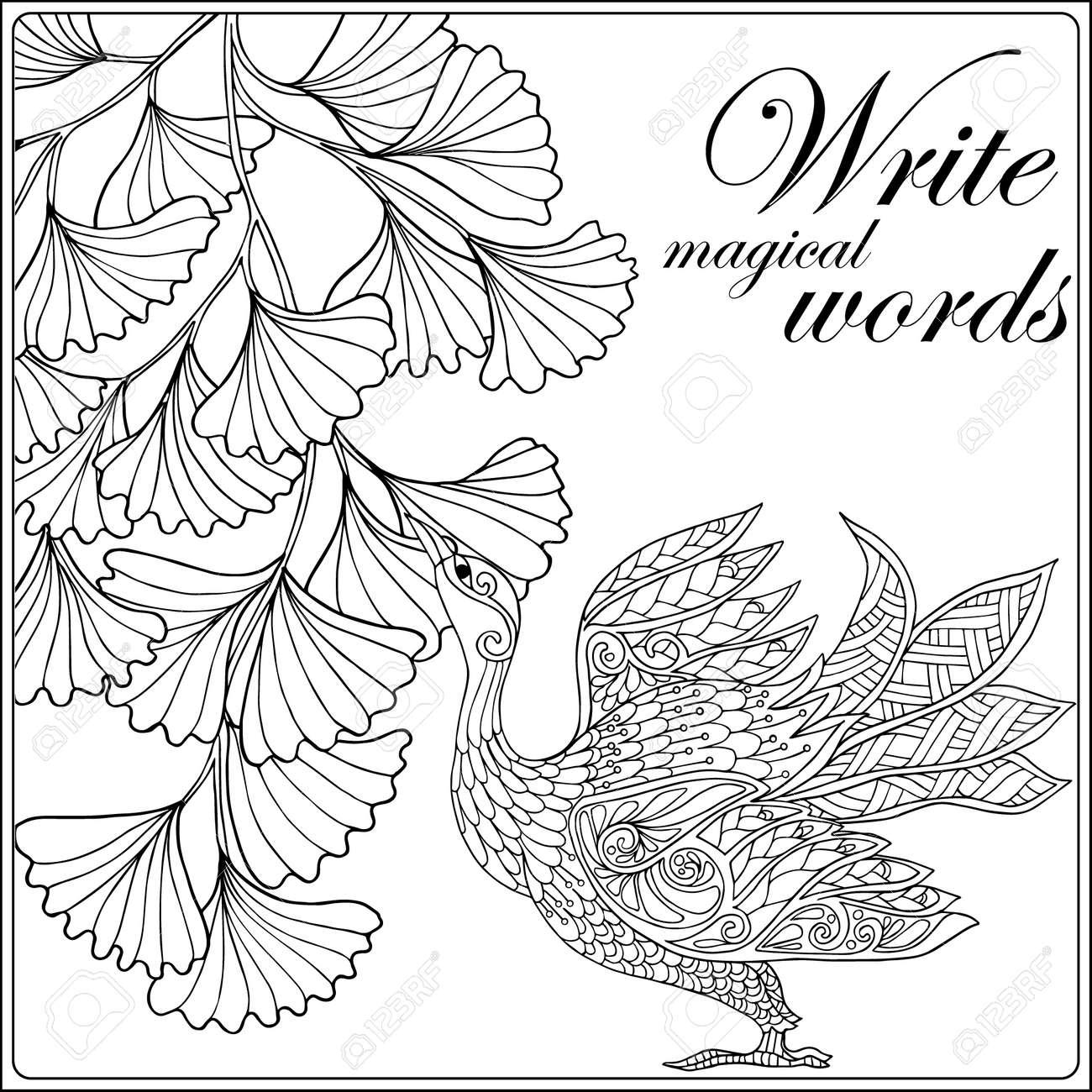 Dekorative Blumen Und Vögel. Malbuch Für Erwachsene Und ältere ...