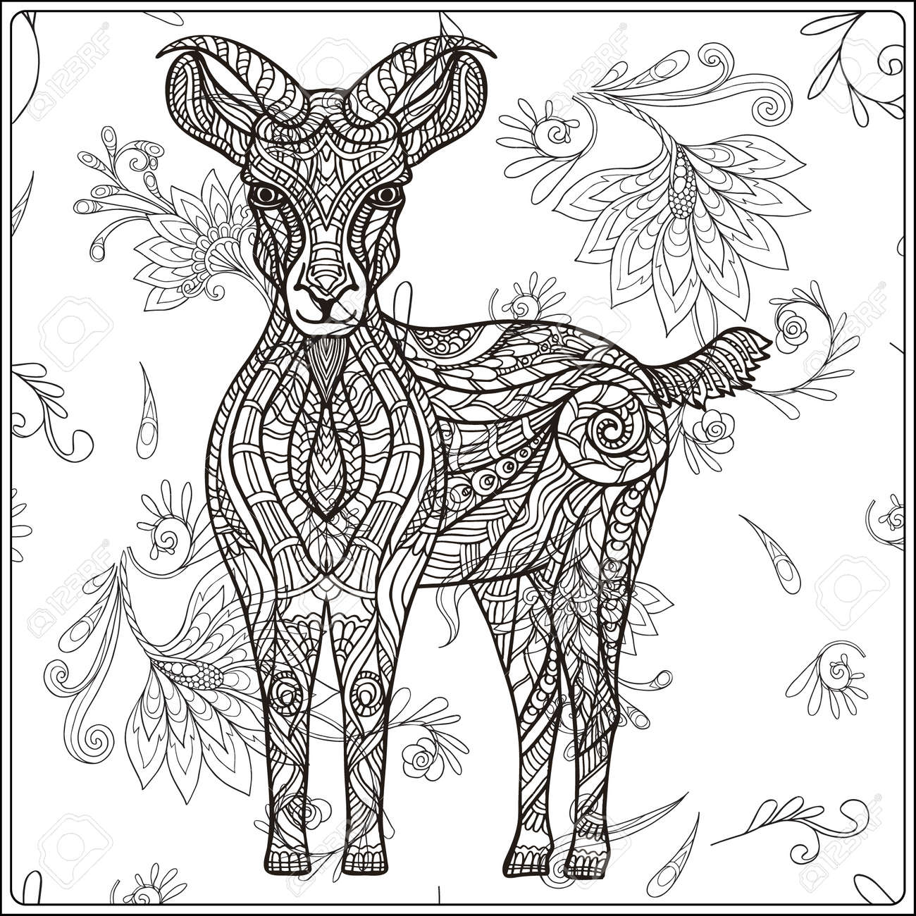Goat On Floral Background Coloring Book For Adult And Older Children Page