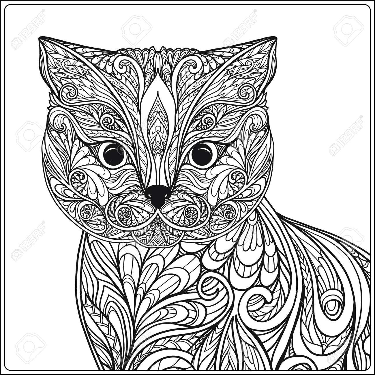 Gato Decorativo. Ilustración Del Vector. Libro De Colorante Para ...