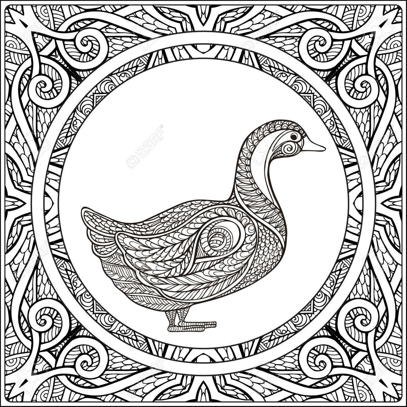 Duck On Pattern Background. Coloring Book For Adult And Older ...