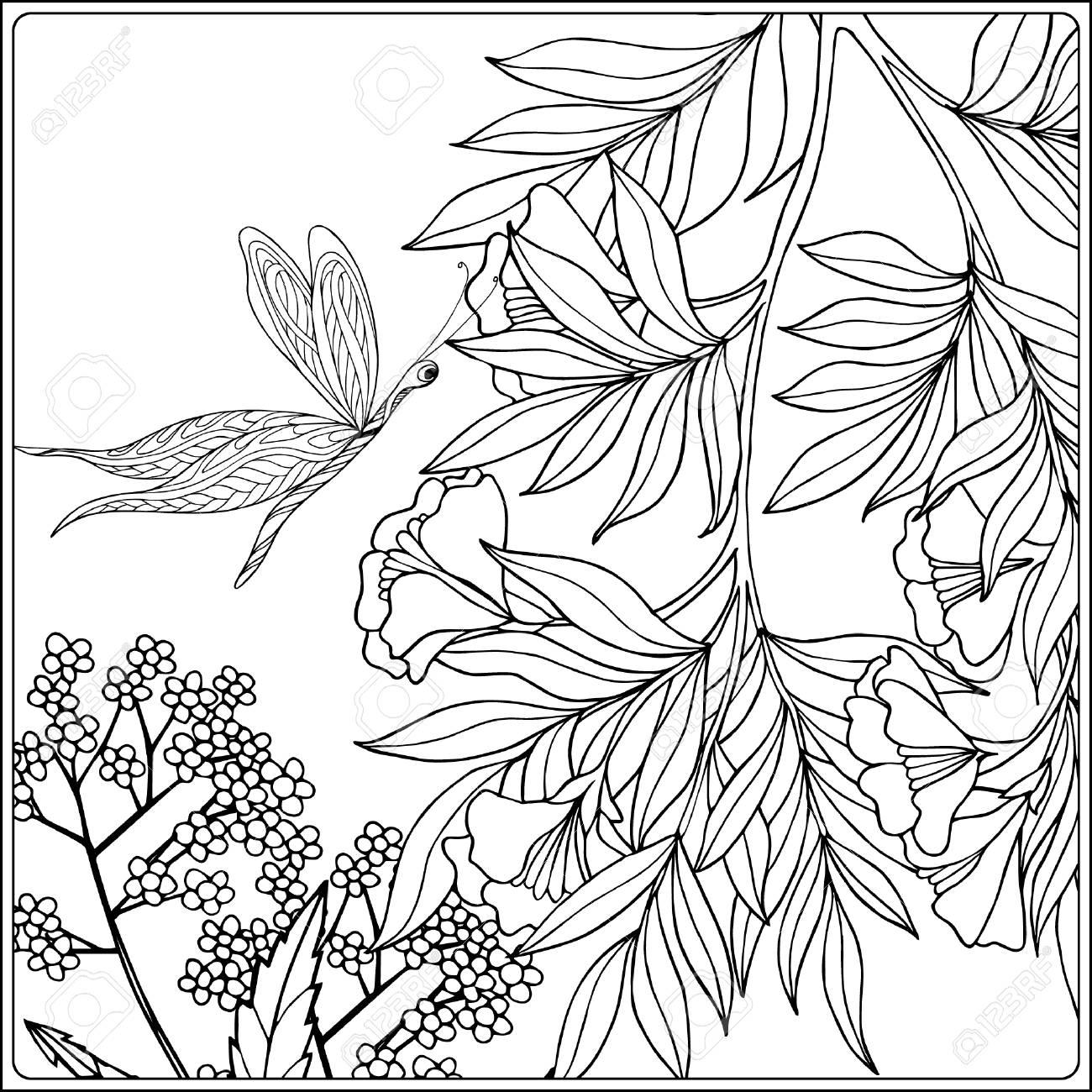 Donna Di Fiori Uccelli E Farfalle Libro Da Colorare Per Adulti E