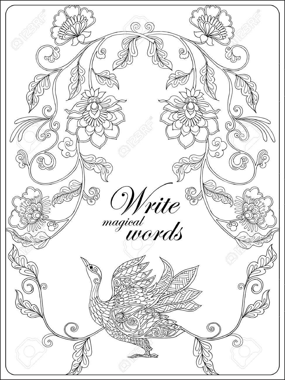 Flores Decorativas Y Pájaro. Libro De Colorear Para Niños Adultos Y ...