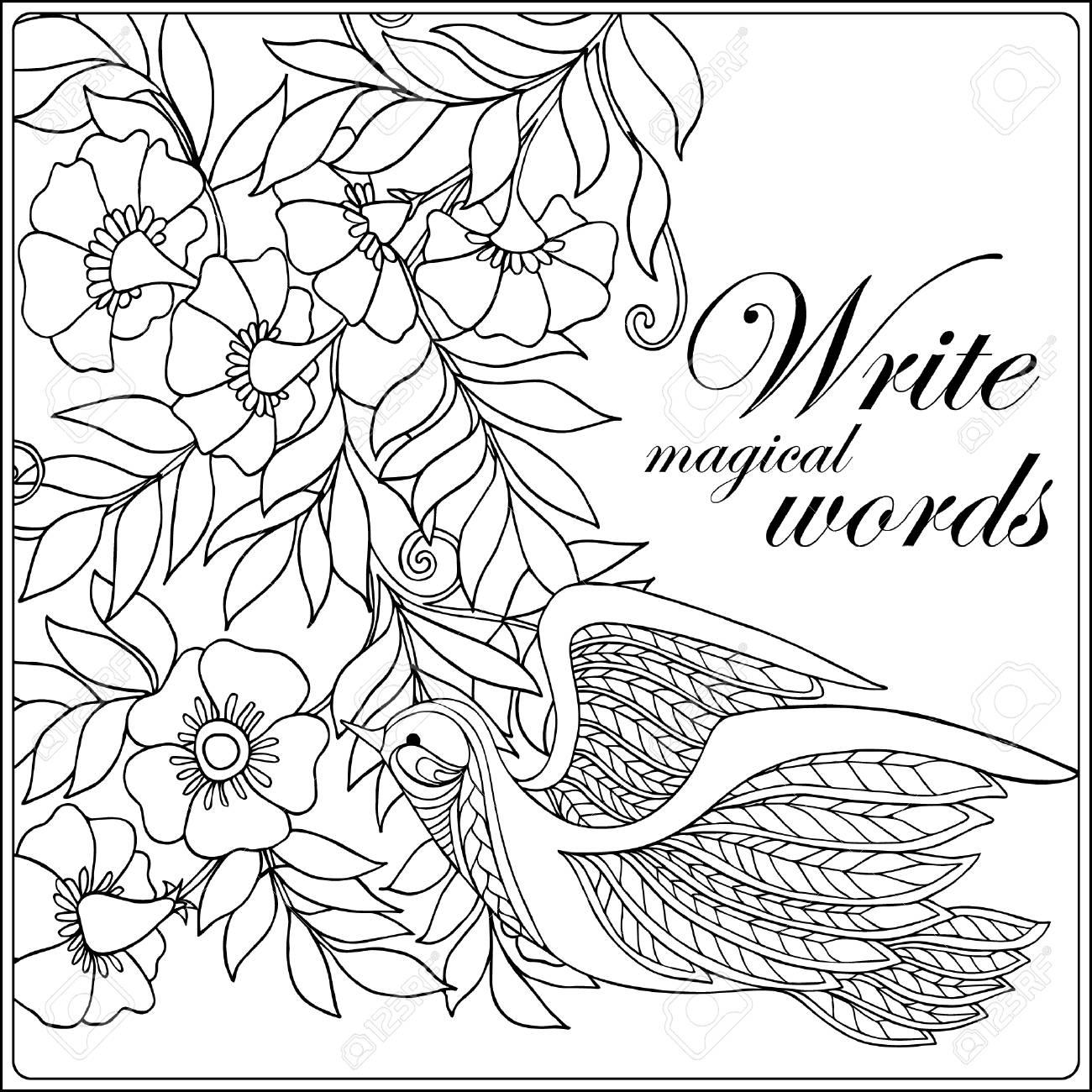Flores Decorativas Y Pajaros Libro De Colorear Para Ninos Adultos Y