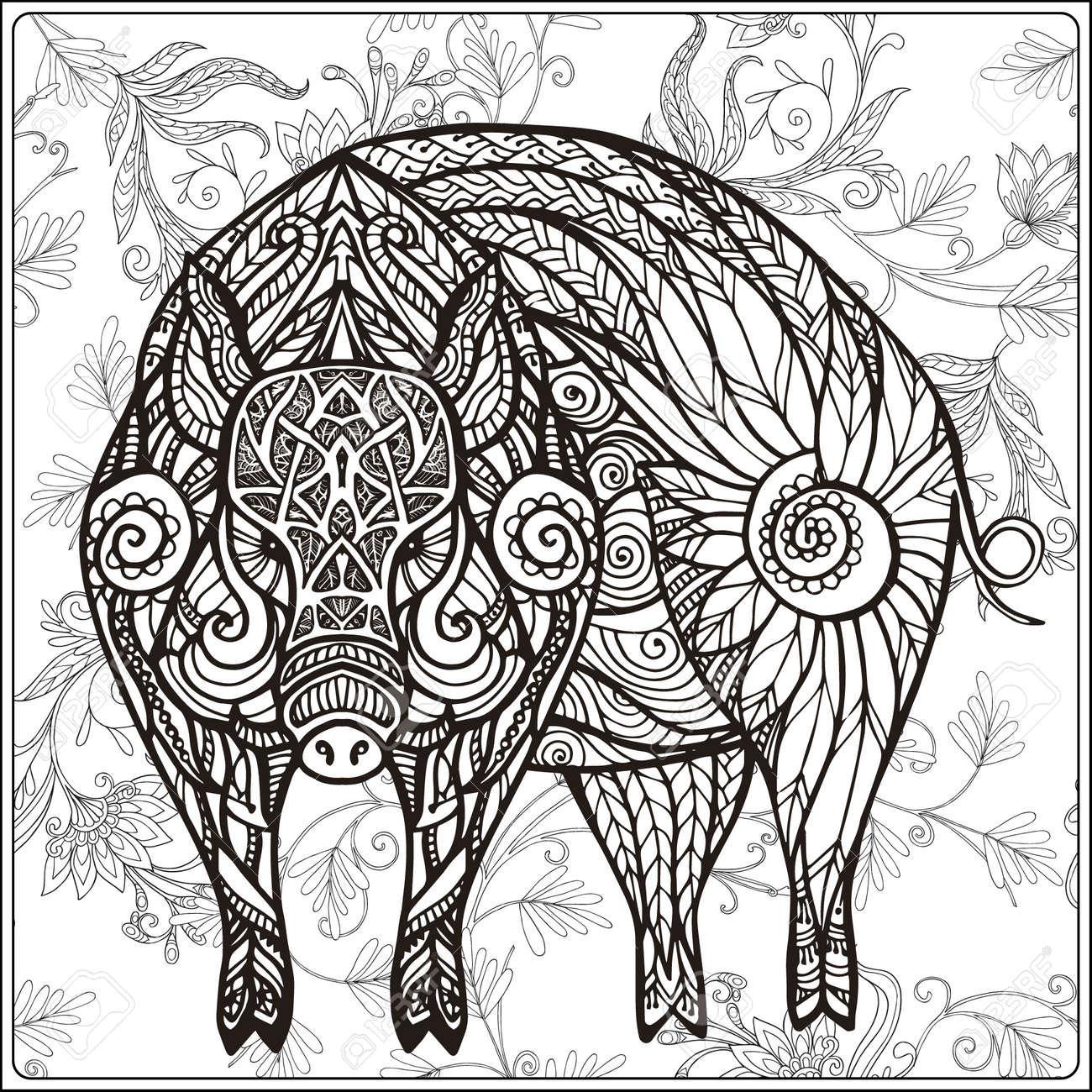 Cerdo En Fondo Floral. Libro De Colorear Para Niños Adultos Y ...