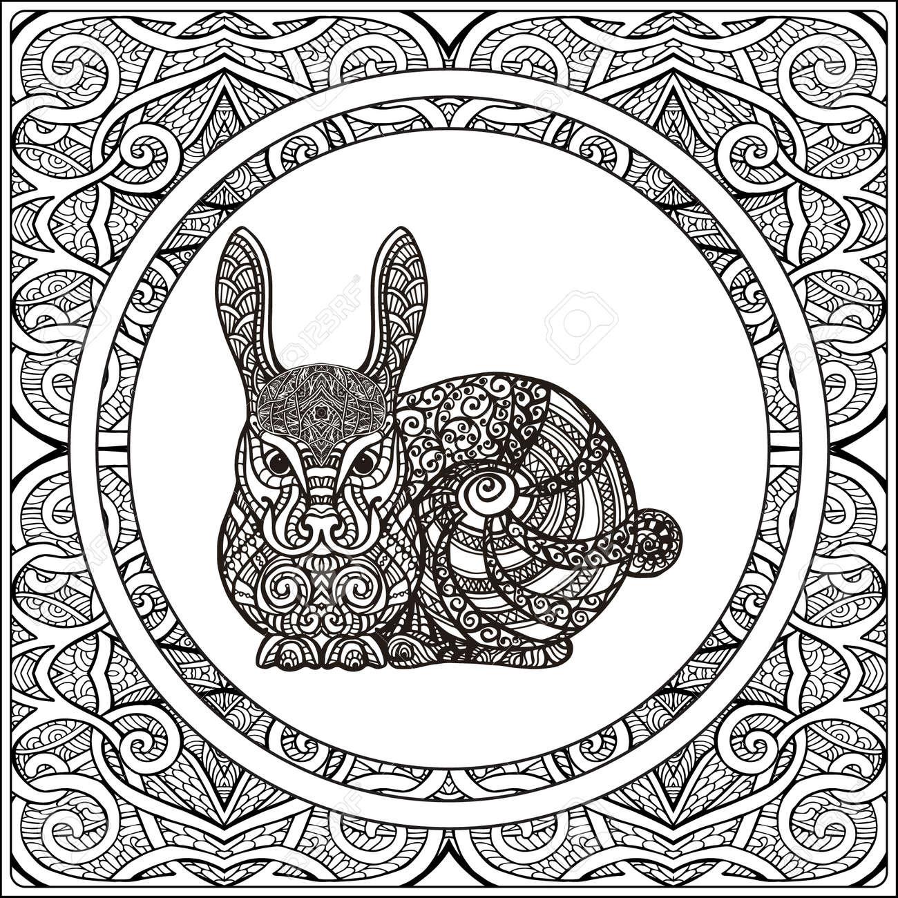 Kaninchen Auf Muster Hintergrund. Malbuch Für Erwachsene Und ältere ...
