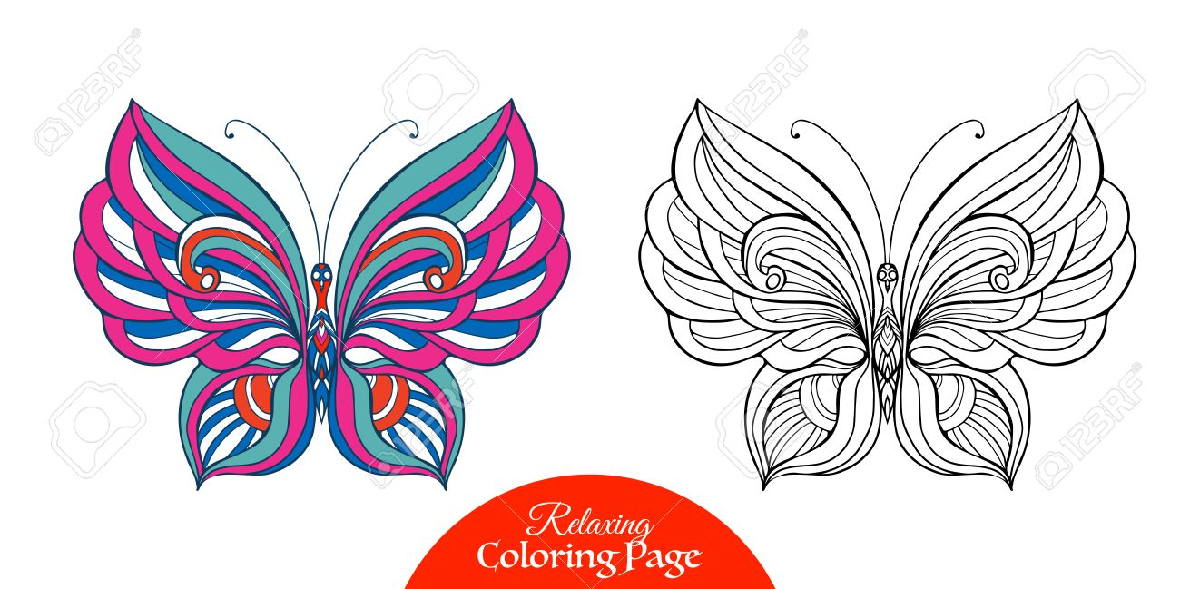 Decorative Butterfly Coloring Book For Adult And Older Children Page With Colored Sample
