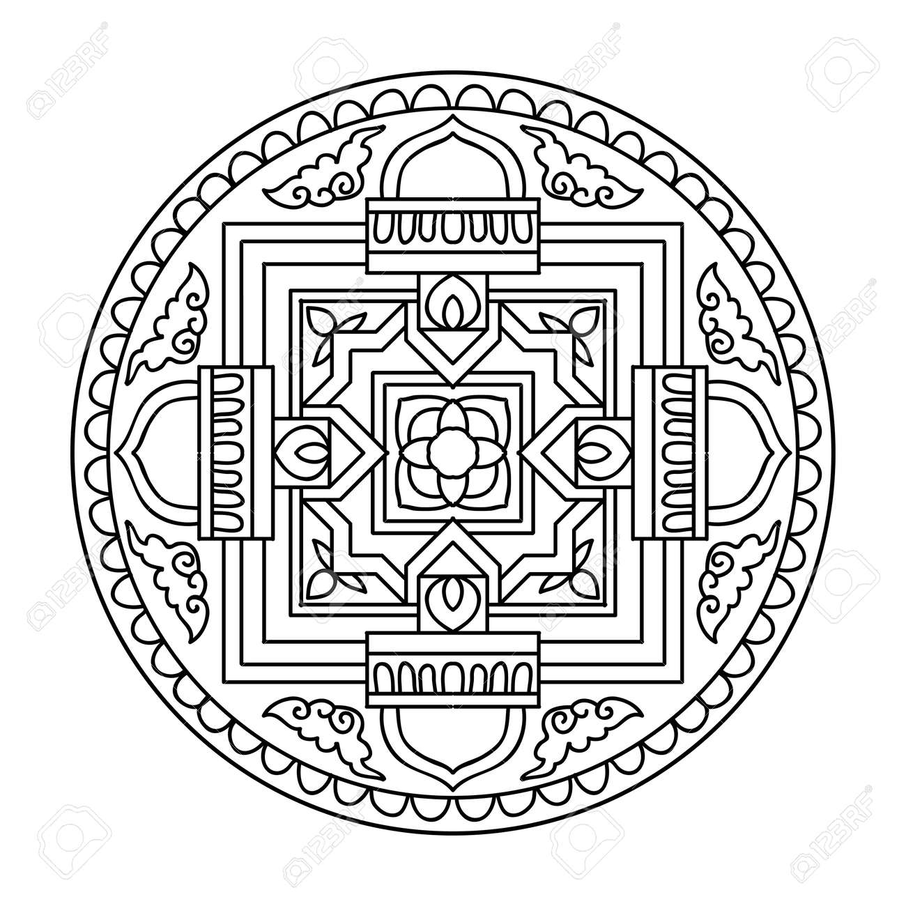 Tibet Ethnic Mandalas And Elements Outline Drawing Vector Illustration Coloring Book For Adult