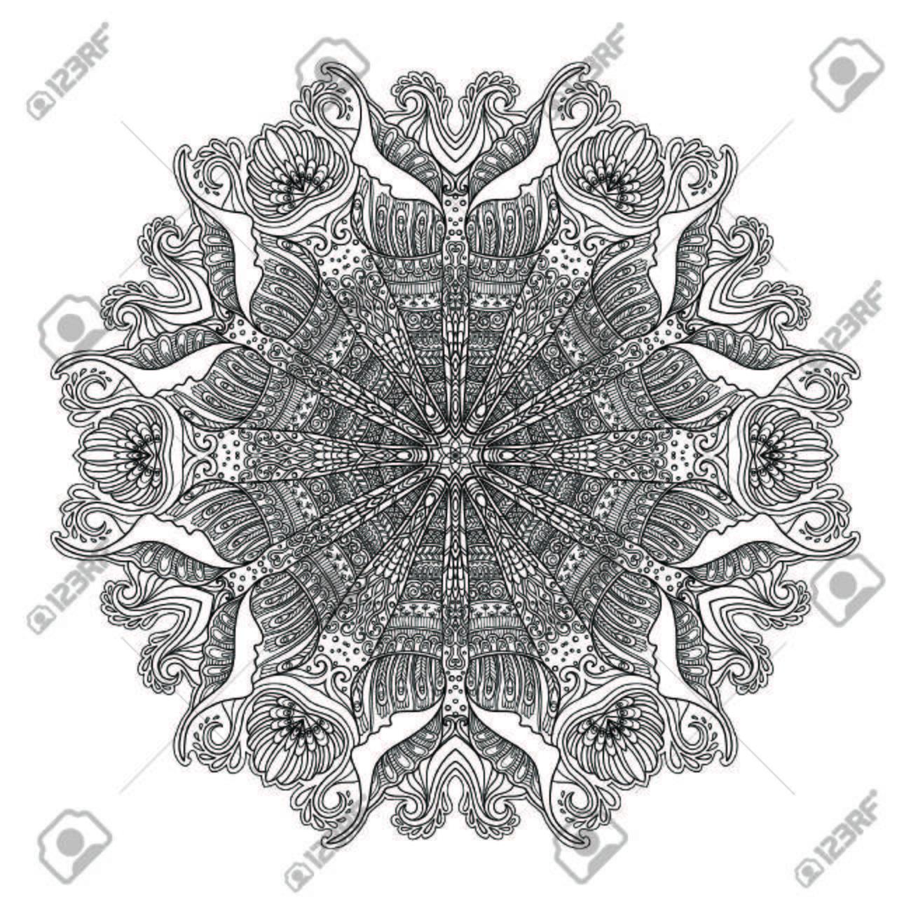 Vettoriale Mandala Di Mare Con Conchiglie Coralli E Pesci