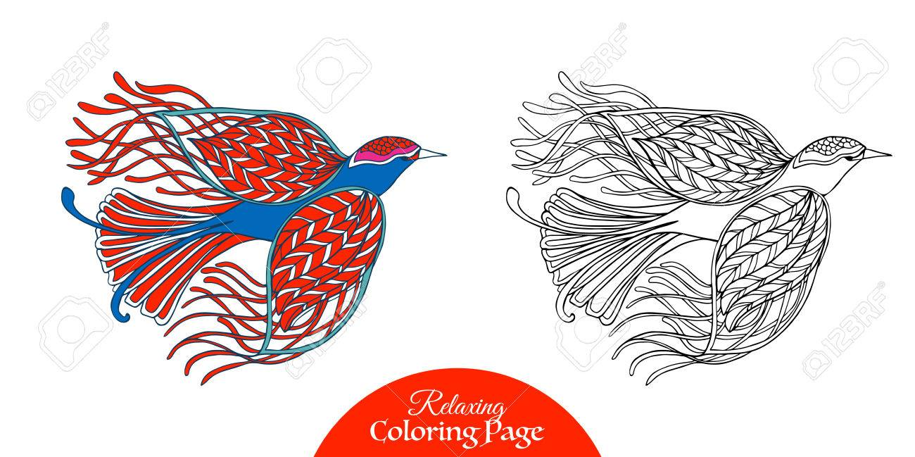 Decorative Bird Coloring Book For Adult And Older Children Page With Colored Sample