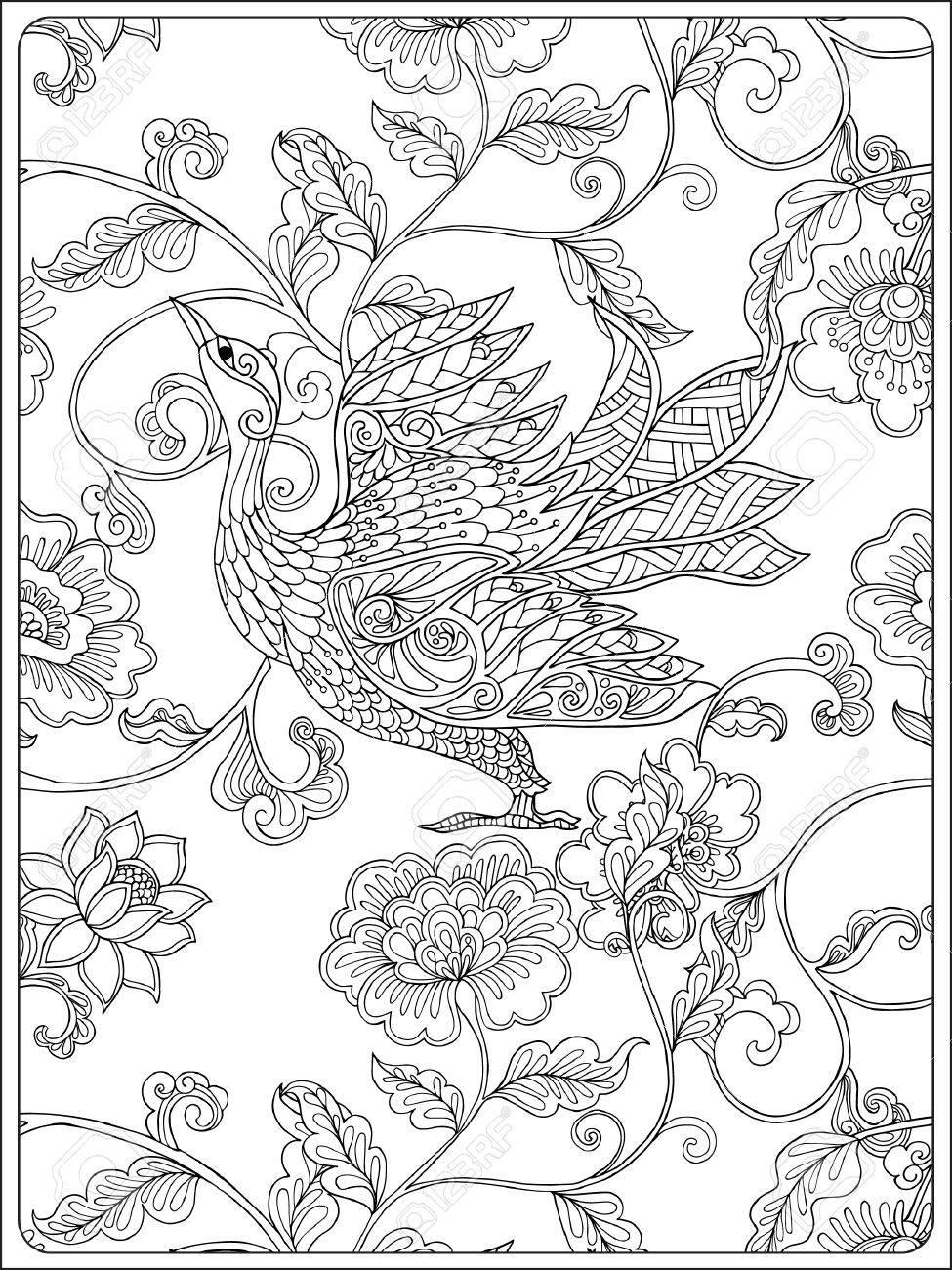 Coloriage Adulte Vintage.Motif Floral Vintage Dessin Au Trait Livre De Coloriage Pour Les