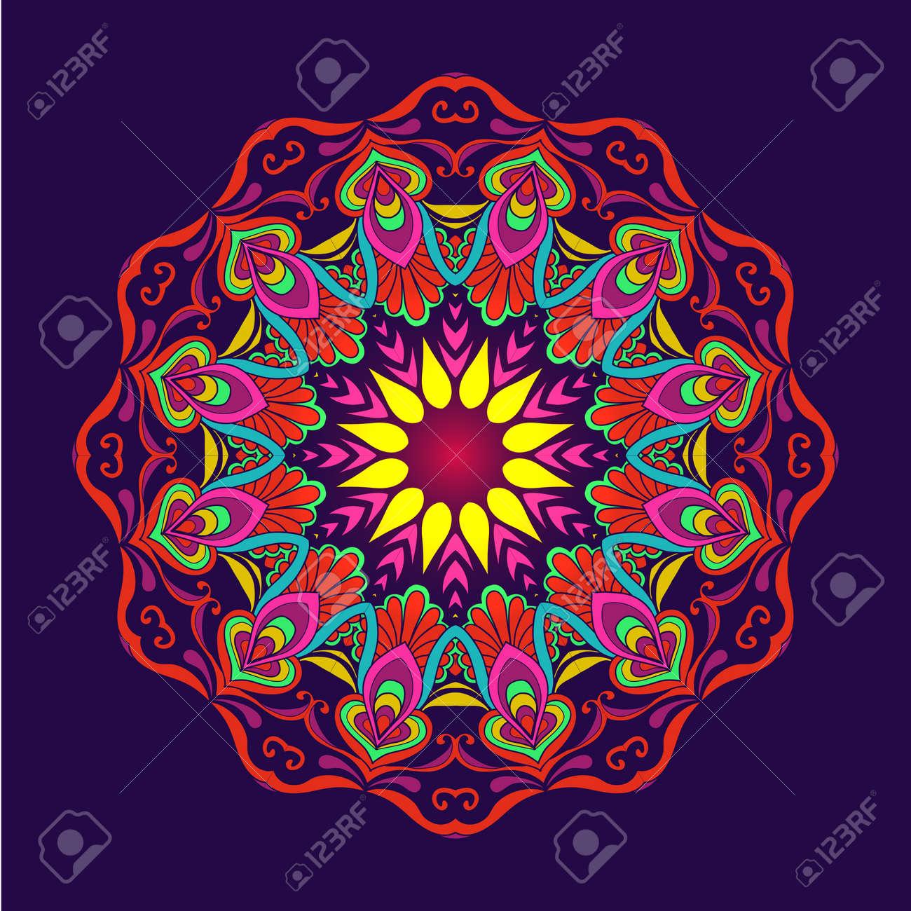Hermosas Flores Vintage Deco Mandala Diseño Modelado Del Elemento