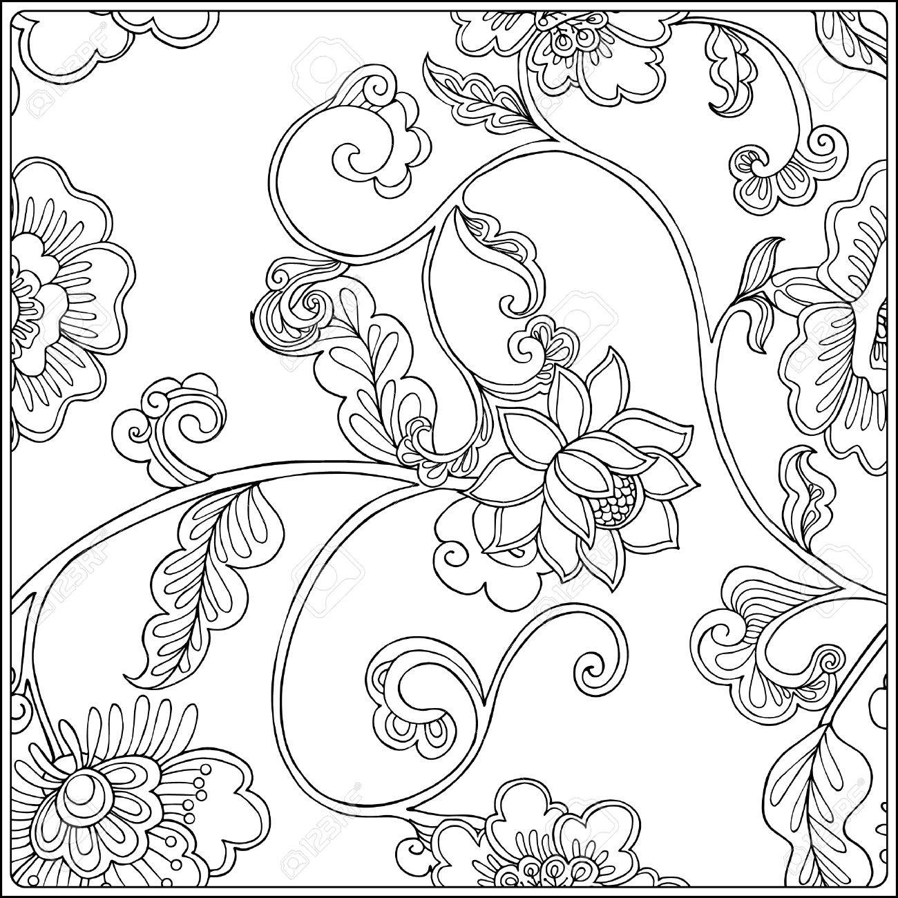 Vintage Floral Pattern Outline Drawing Coloring Book For Adult