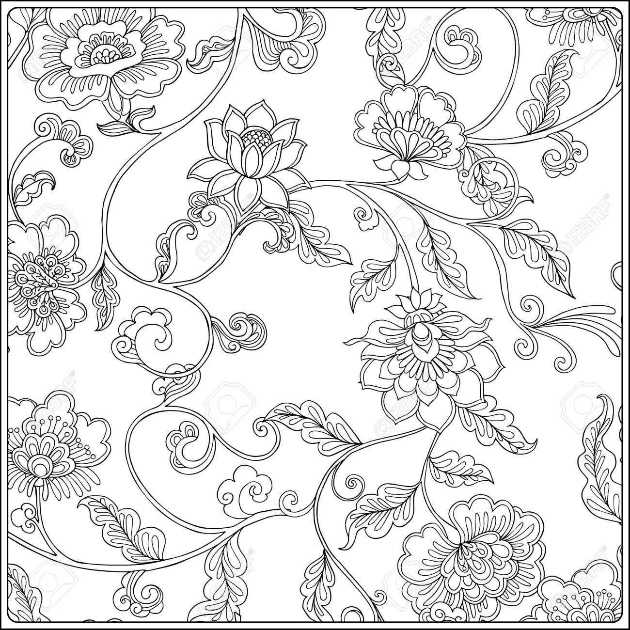 Vintage Floral Pattern Outline Drawing Coloring Book For Adult