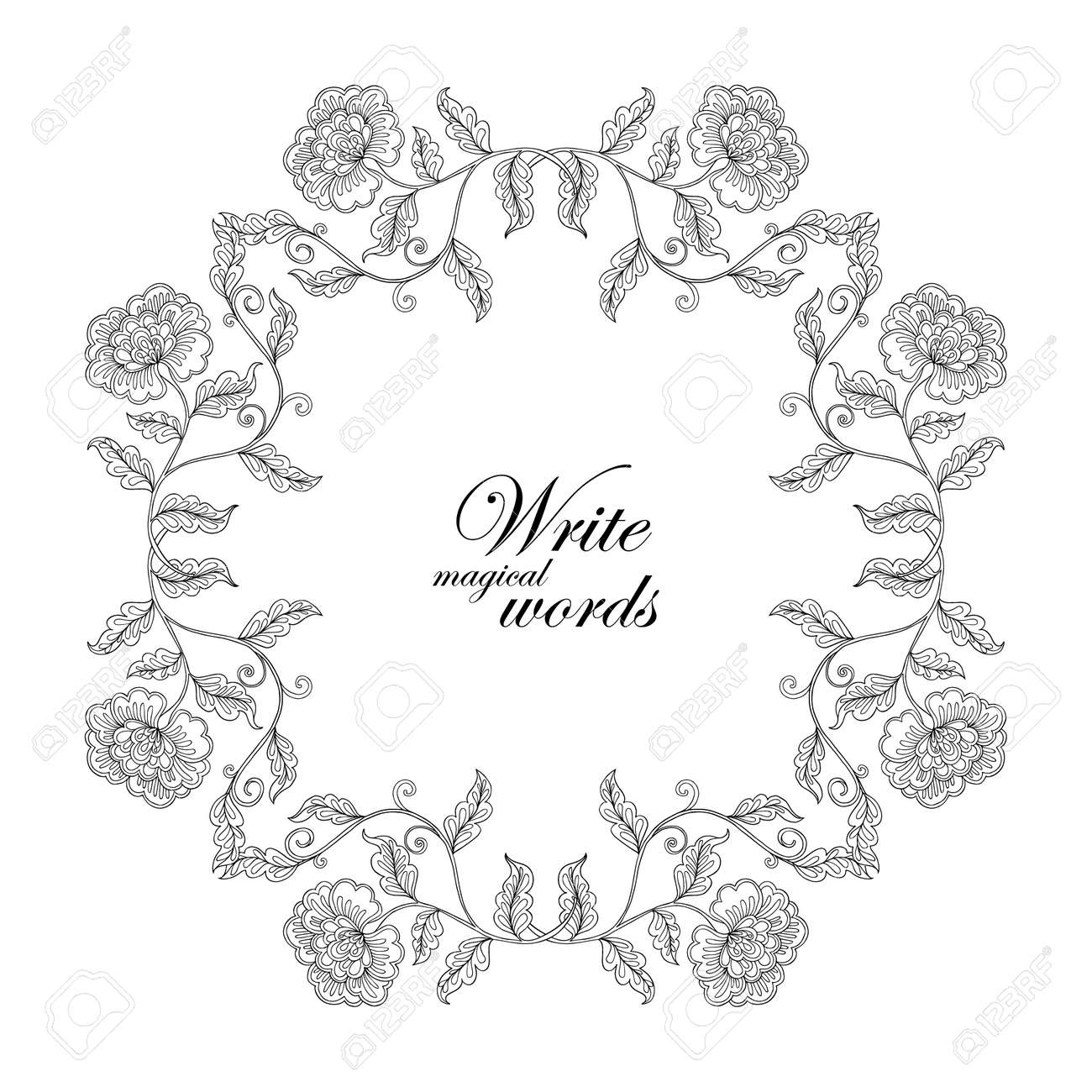 Decorative Vintage Flowers Frame Border With Space For Any Text Royalty Free Cliparts Vectors And Stock Illustration Image 57533771