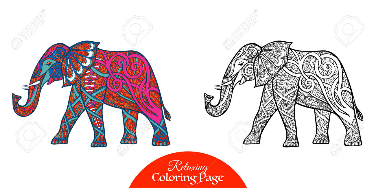 Decorative Elephant Outline Drawing Vector Illustration Royalty
